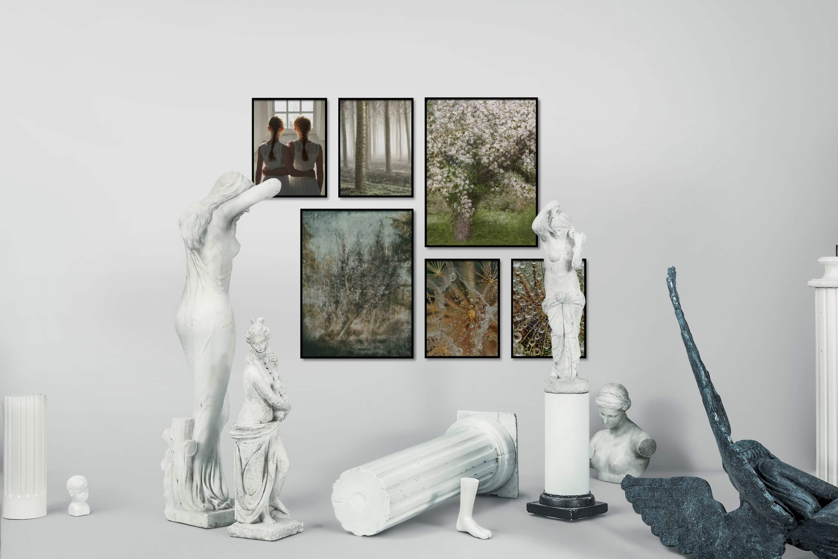 Gallery wall idea with six framed pictures arranged on a wall depicting Artsy, Mindfulness, Nature, Vintage, For the Maximalist, For the Moderate, and Flowers & Plants