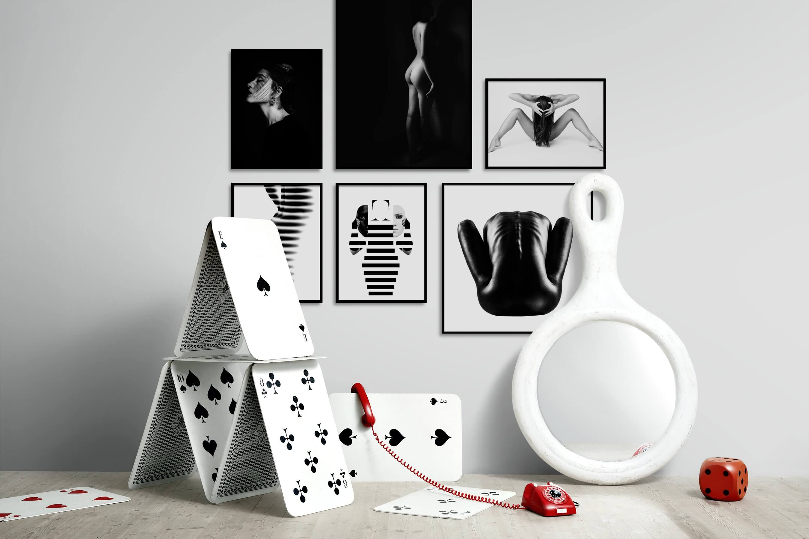 Gallery wall idea with six framed pictures arranged on a wall depicting Fashion & Beauty, Black & White, Dark Tones, For the Minimalist, Vintage, Bright Tones, For the Moderate, and Artsy