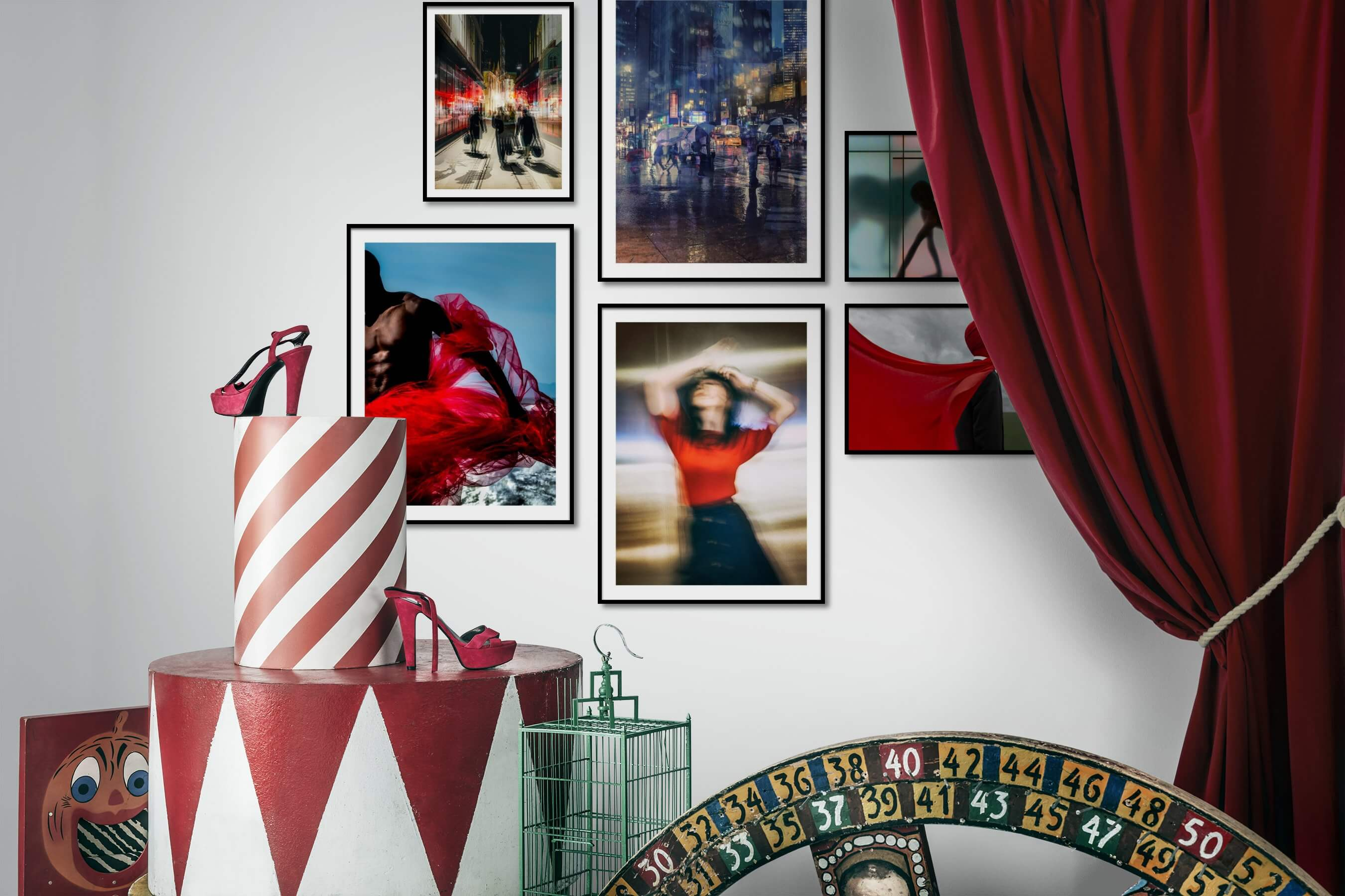 Gallery wall idea with six framed pictures arranged on a wall depicting For the Moderate, City Life, Americana, Fashion & Beauty, Artsy, and For the Maximalist