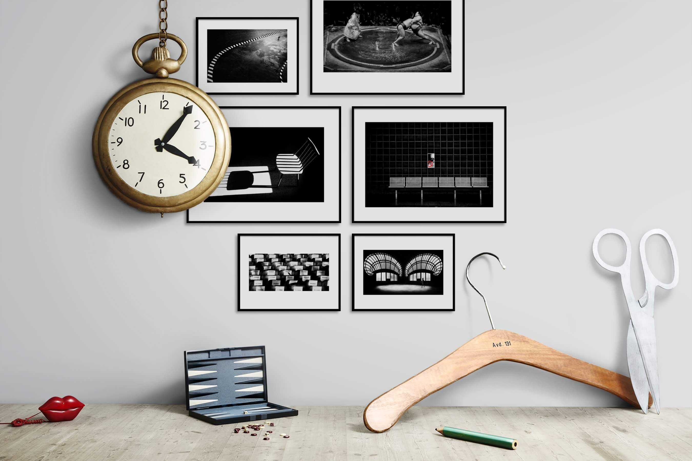 Gallery wall idea with six framed pictures arranged on a wall depicting Black & White, For the Moderate, For the Minimalist, and For the Maximalist