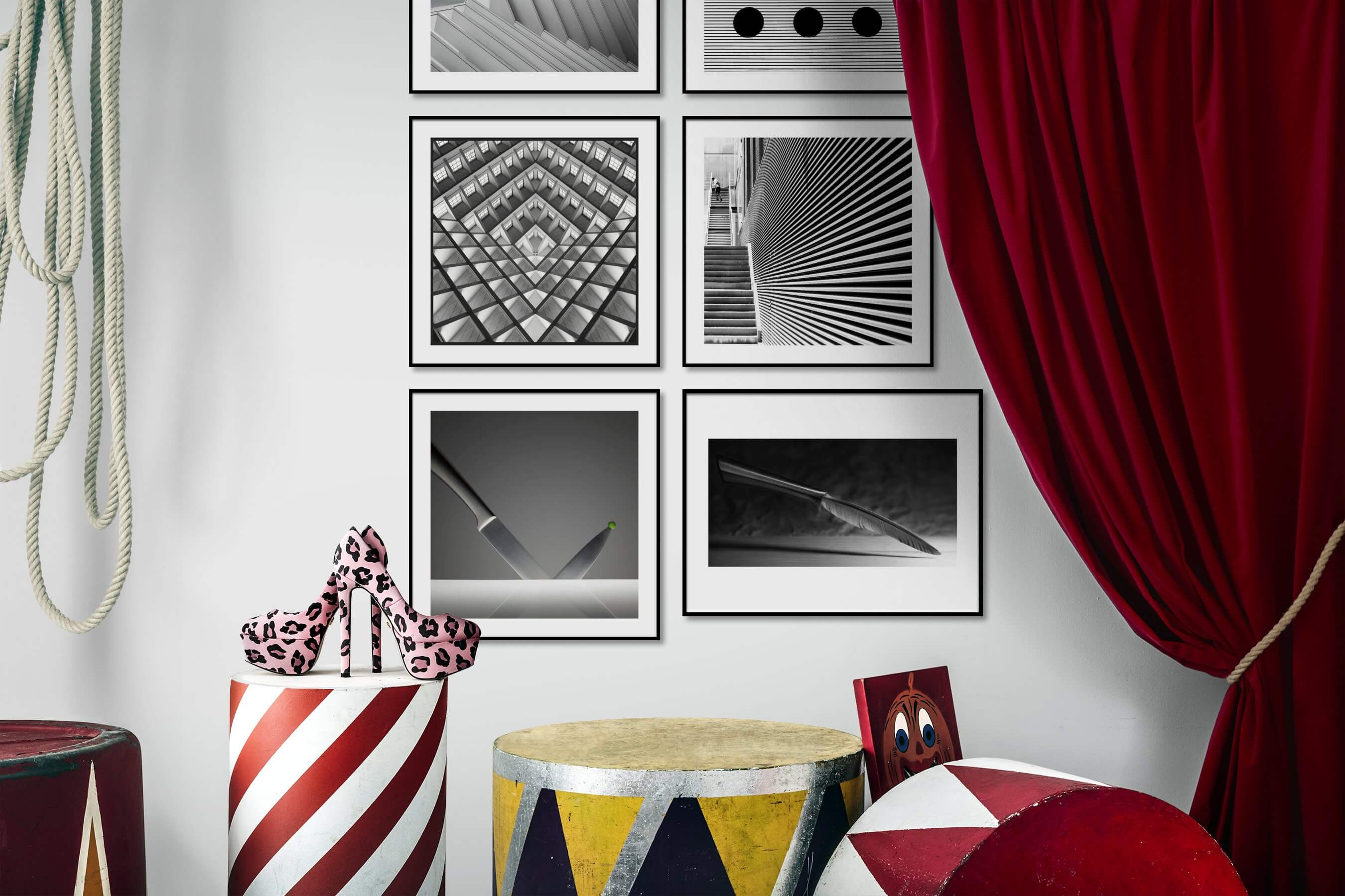 Gallery wall idea with six framed pictures arranged on a wall depicting For the Moderate, Black & White, For the Maximalist, City Life, and For the Minimalist