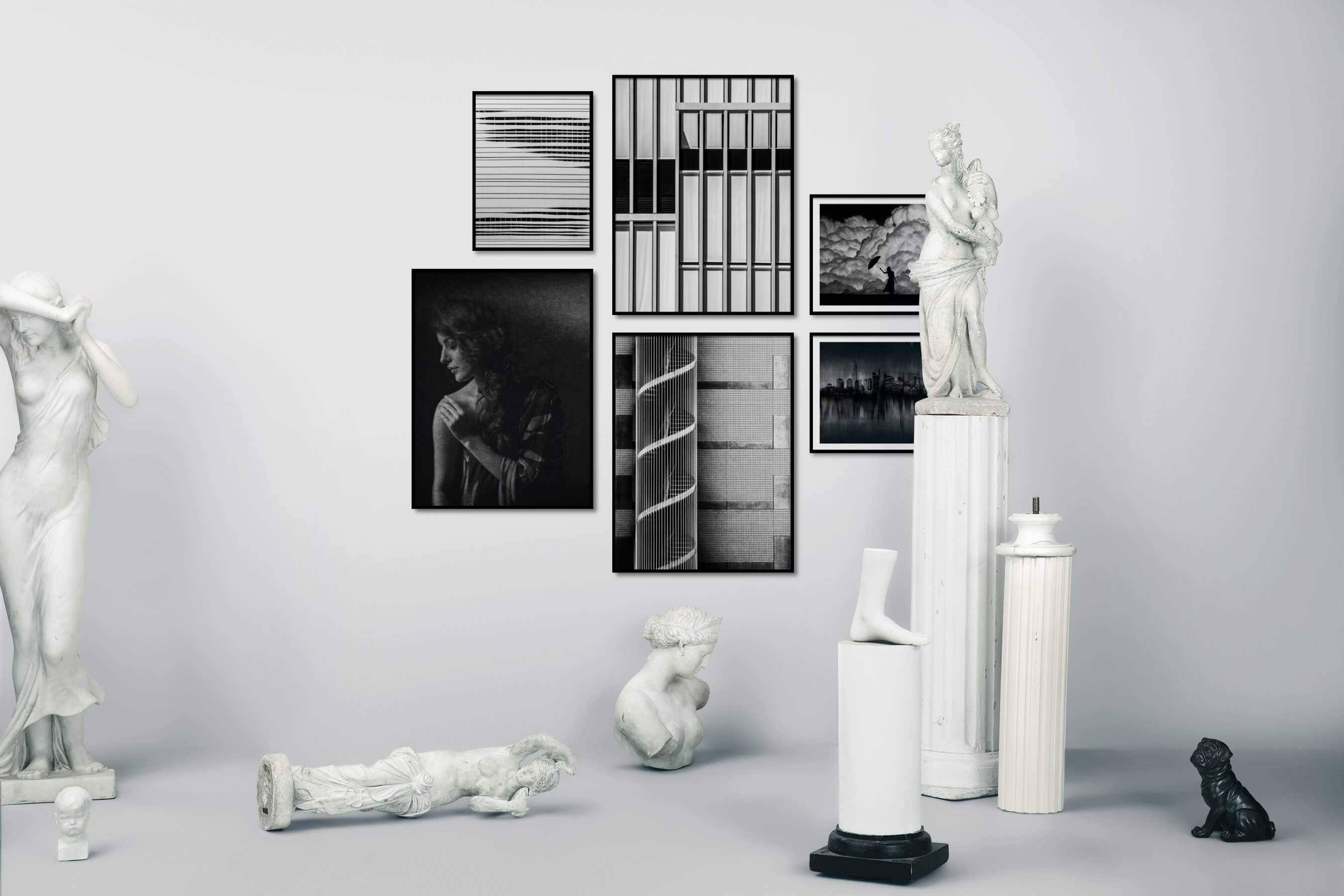 Gallery wall idea with six framed pictures arranged on a wall depicting Black & White, For the Moderate, Fashion & Beauty, Artsy, City Life, and Americana