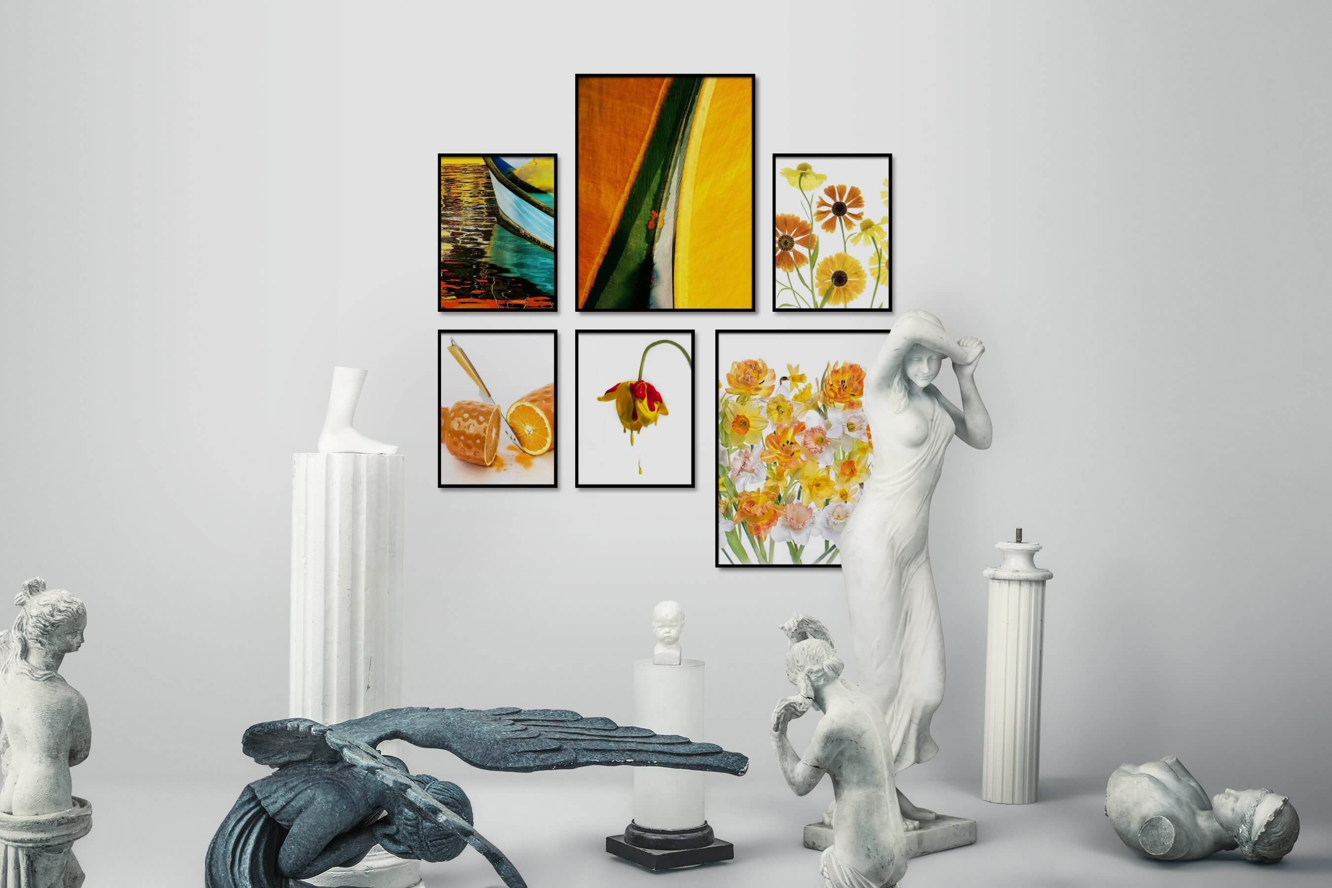 Gallery wall idea with six framed pictures arranged on a wall depicting Colorful, For the Maximalist, Beach & Water, For the Moderate, Bright Tones, For the Minimalist, and Flowers & Plants