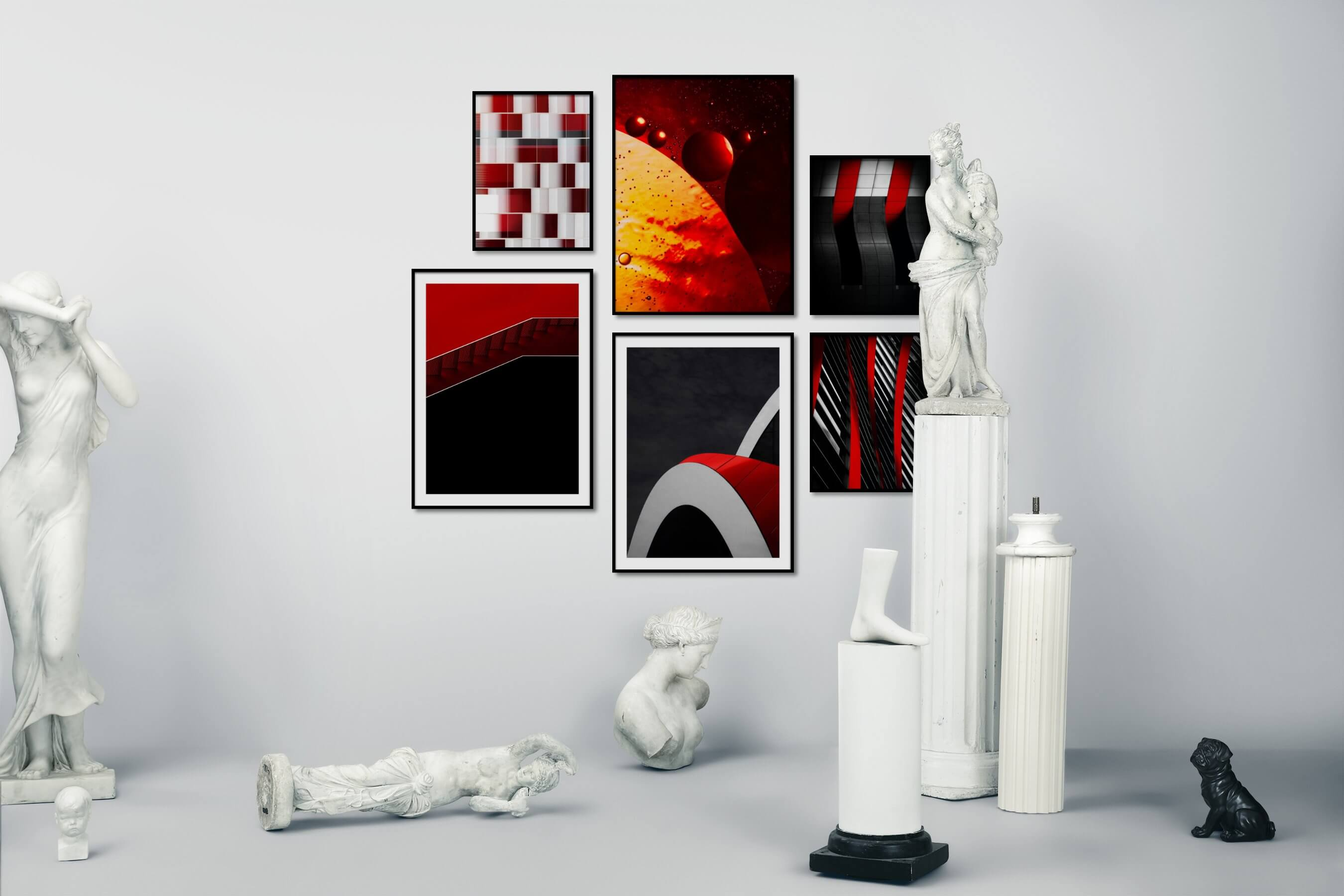 Gallery wall idea with six framed pictures arranged on a wall depicting For the Maximalist, Colorful, For the Minimalist, and For the Moderate