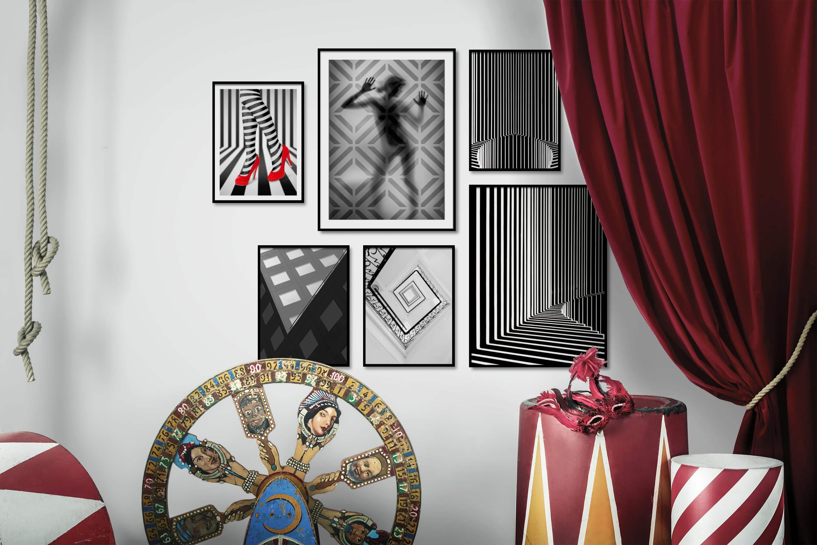 Gallery wall idea with six framed pictures arranged on a wall depicting Fashion & Beauty, For the Maximalist, Black & White, For the Minimalist, City Life, and For the Moderate