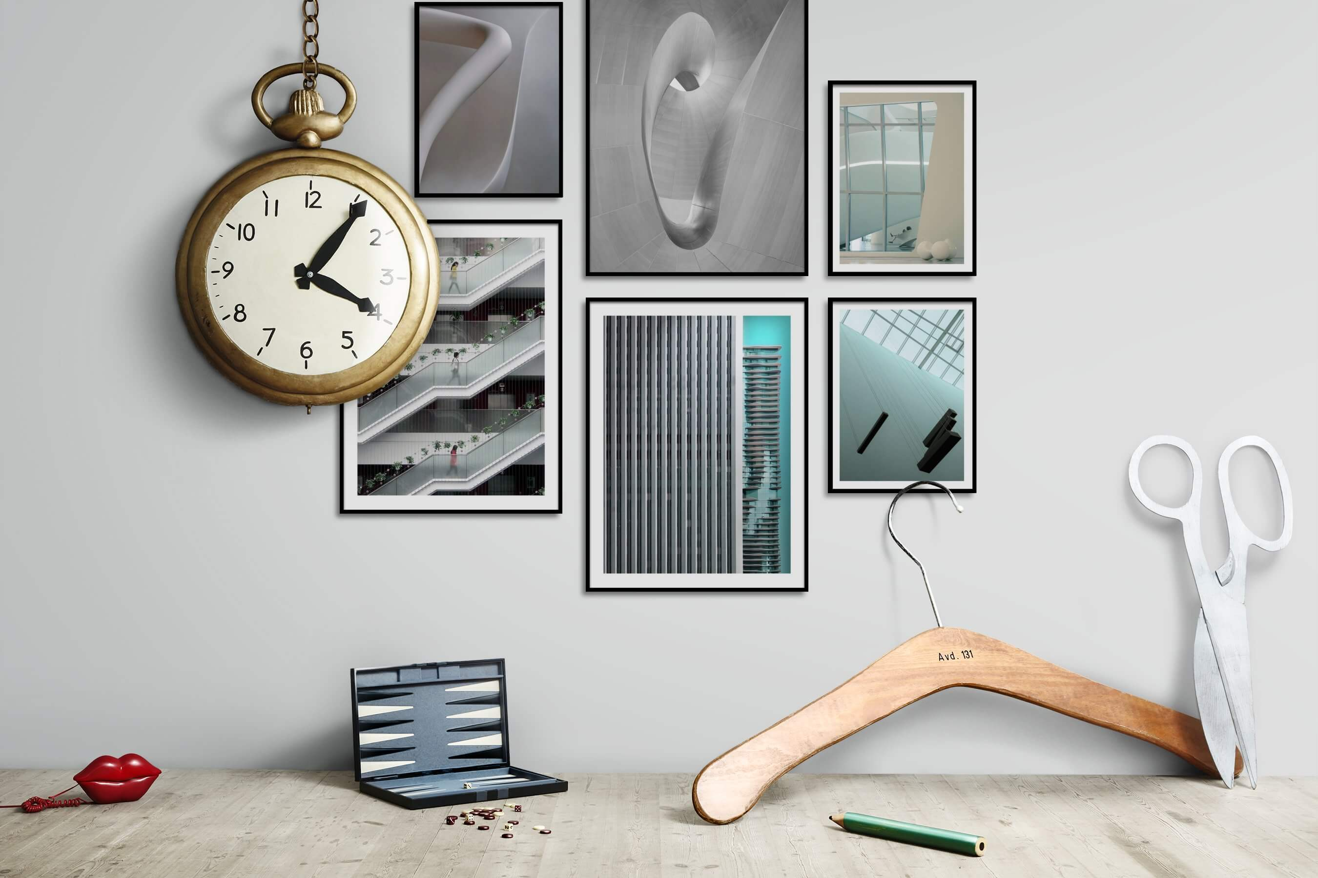 Gallery wall idea with six framed pictures arranged on a wall depicting For the Minimalist, Black & White, For the Moderate, City Life, and For the Maximalist