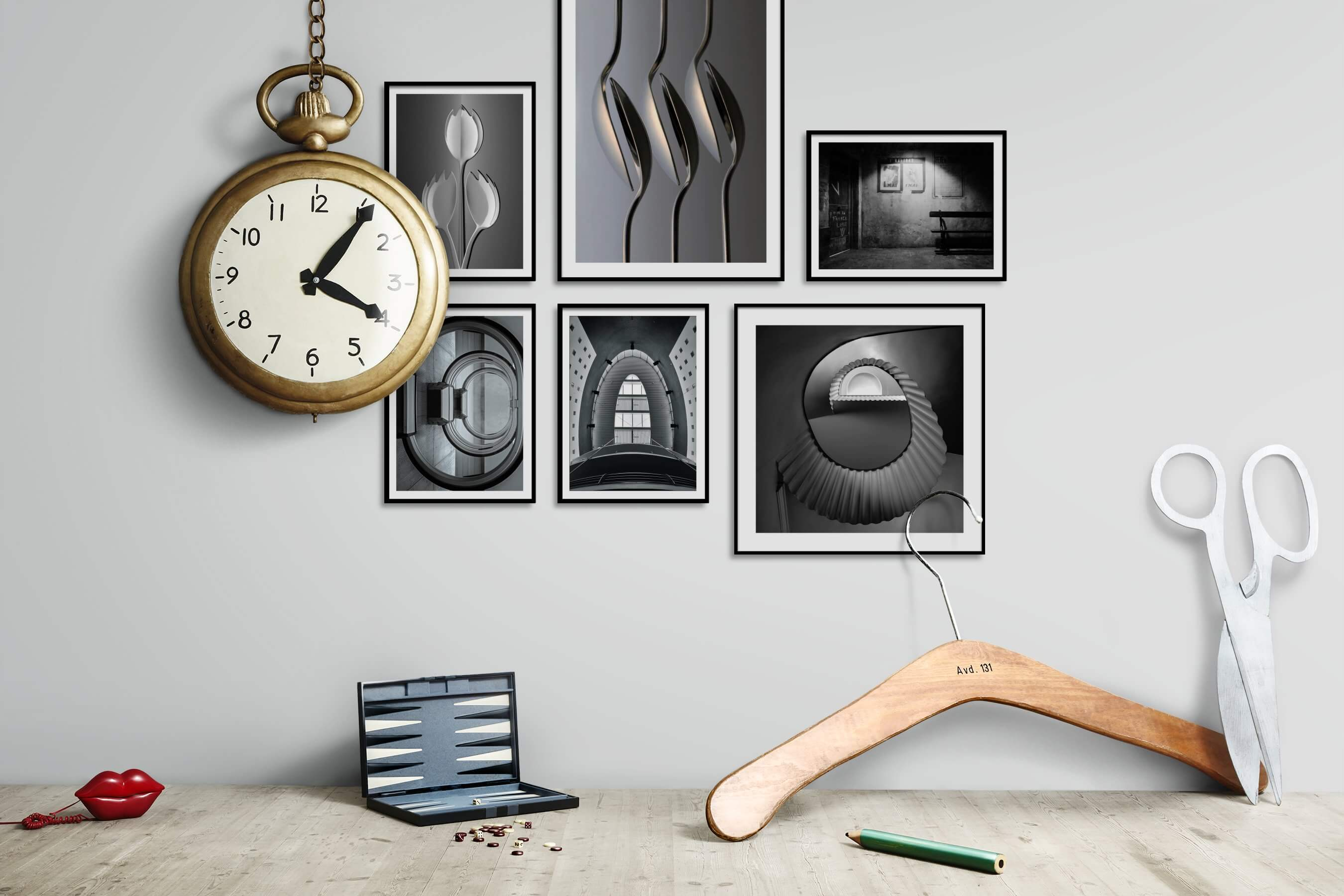 Gallery wall idea with six framed pictures arranged on a wall depicting Black & White, For the Minimalist, Flowers & Plants, For the Moderate, and Vintage