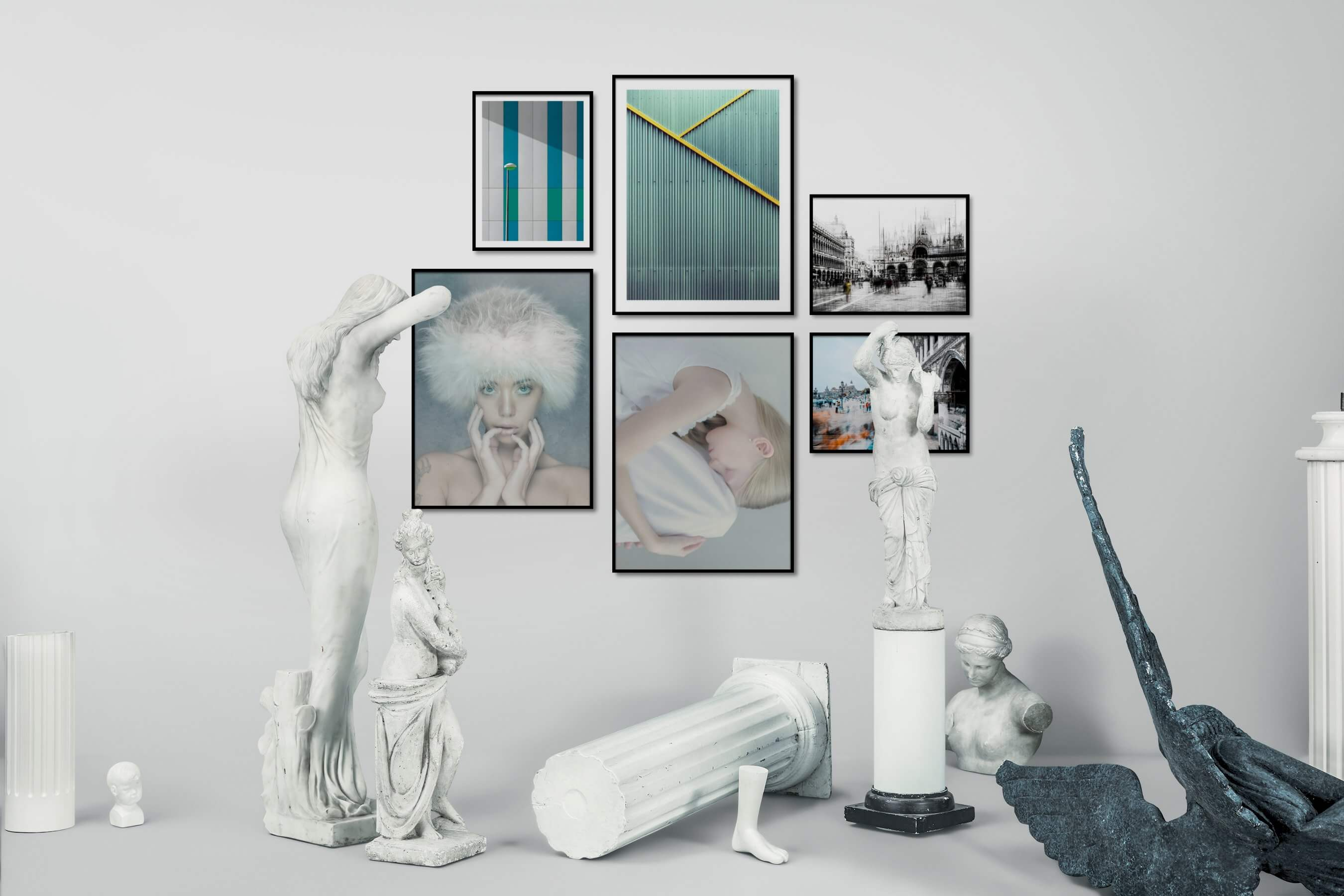 Gallery wall idea with six framed pictures arranged on a wall depicting For the Moderate, Fashion & Beauty, For the Maximalist, and City Life
