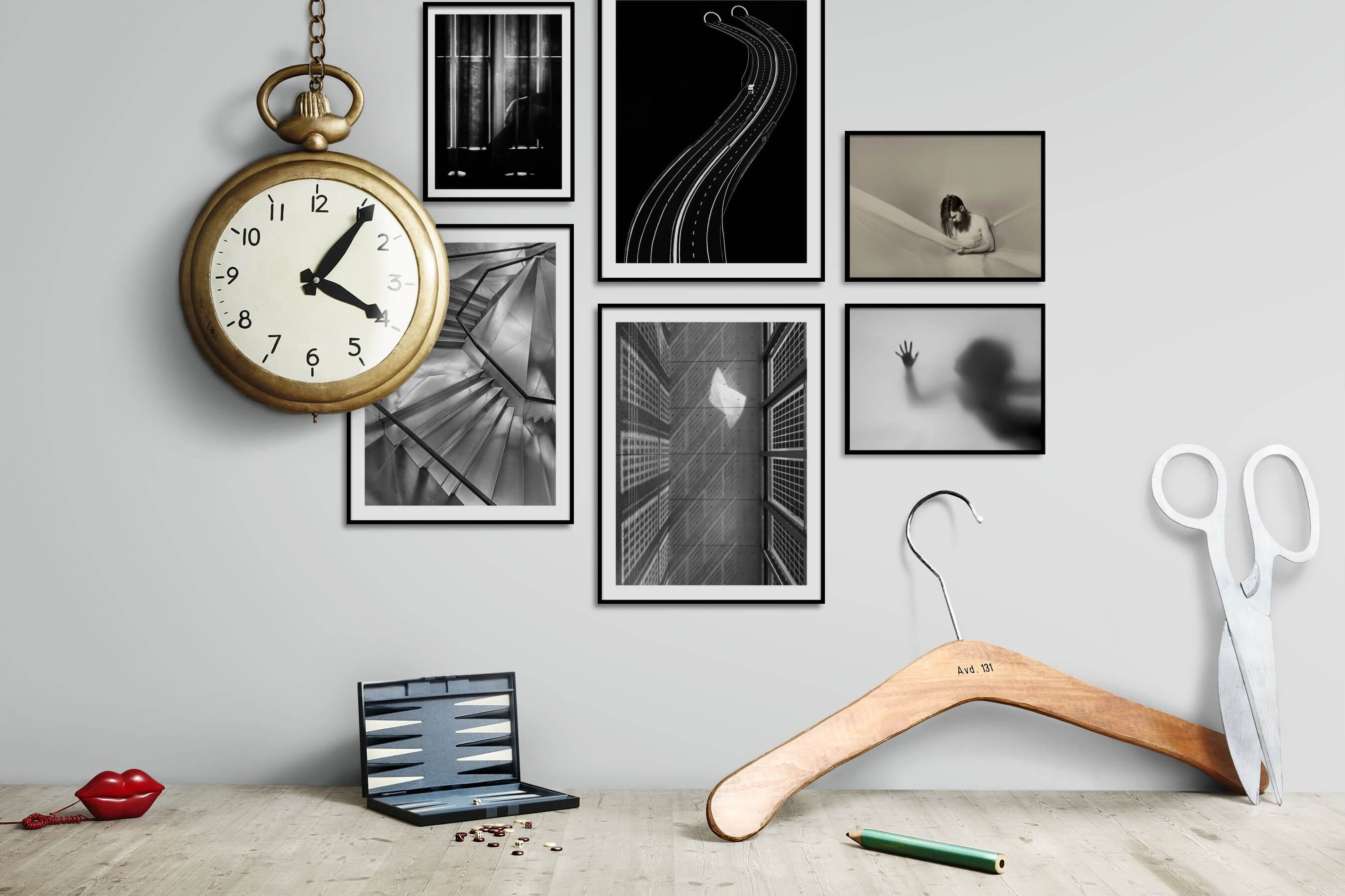 Gallery wall idea with six framed pictures arranged on a wall depicting Black & White, For the Moderate, For the Minimalist, Fashion & Beauty, and Artsy