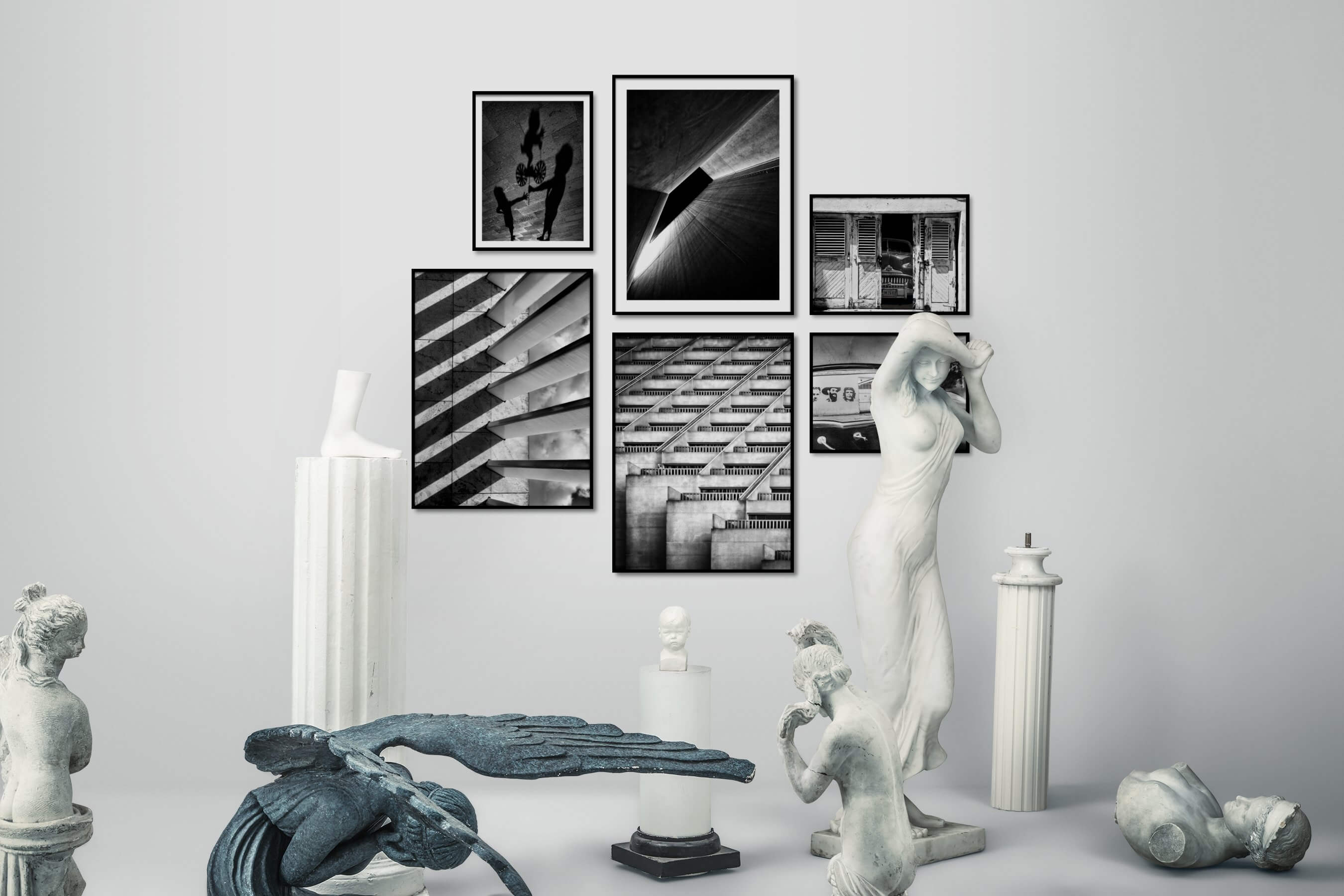 Gallery wall idea with six framed pictures arranged on a wall depicting Artsy, Black & White, For the Moderate, For the Minimalist, For the Maximalist, City Life, Americana, and Vintage