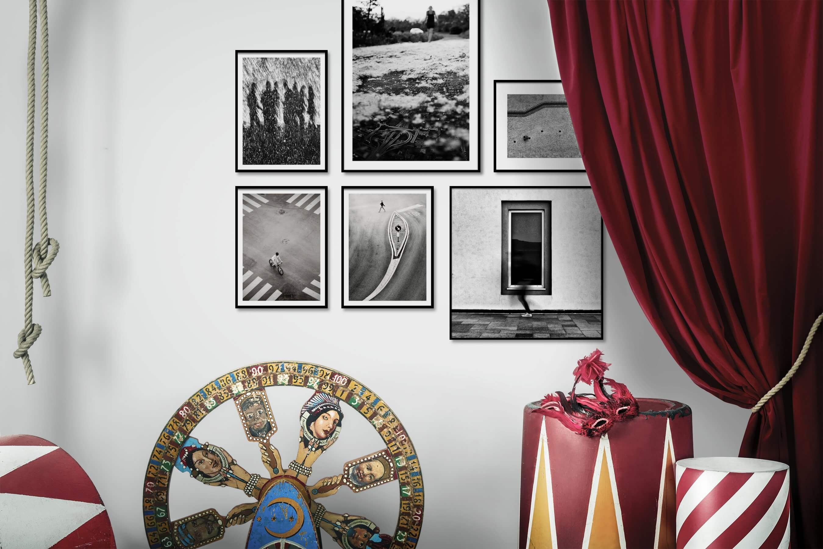 Gallery wall idea with six framed pictures arranged on a wall depicting Black & White, For the Moderate, Artsy, City Life, and For the Minimalist