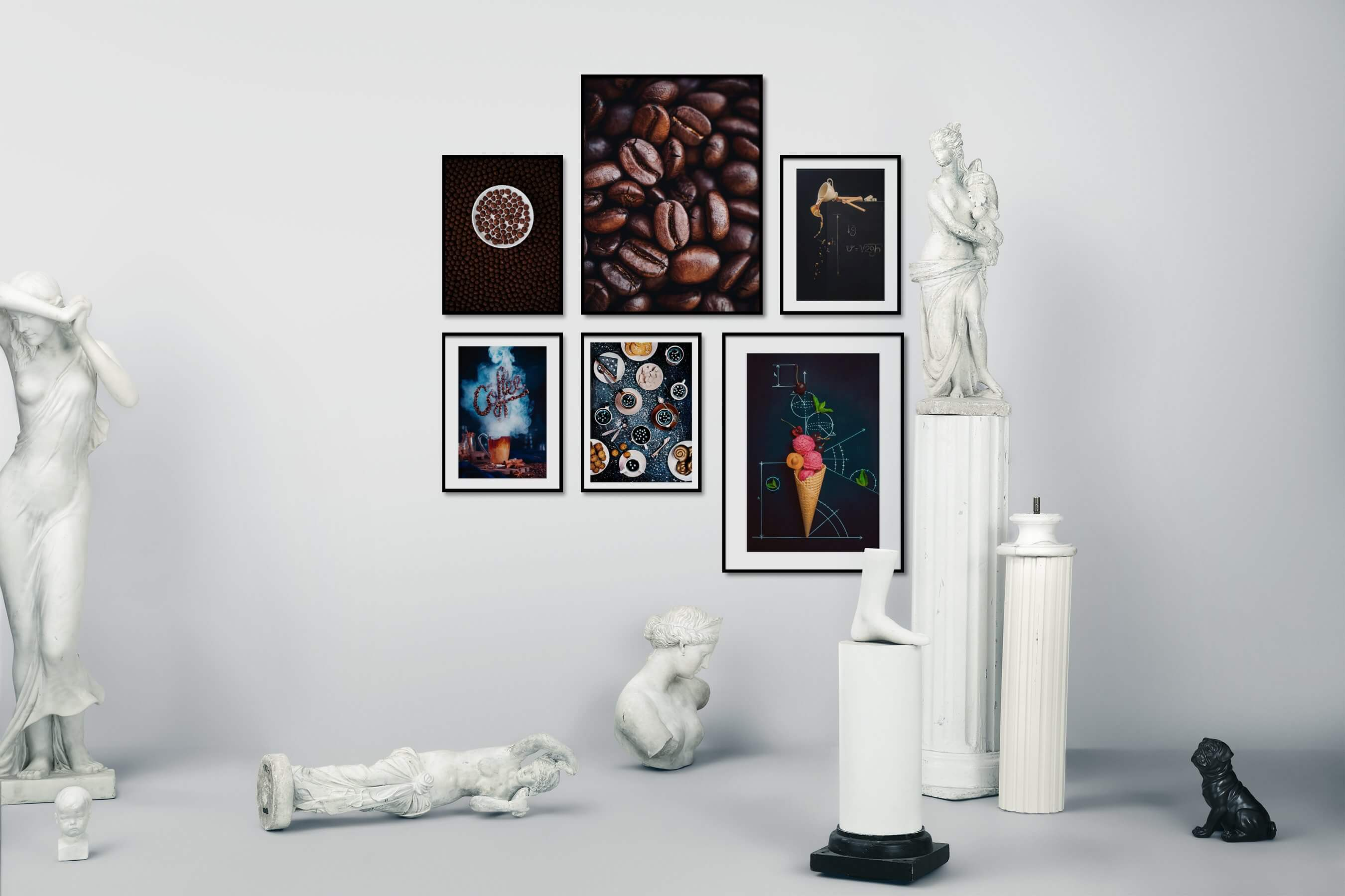 Gallery wall idea with six framed pictures arranged on a wall depicting For the Minimalist, For the Moderate, and Mindfulness