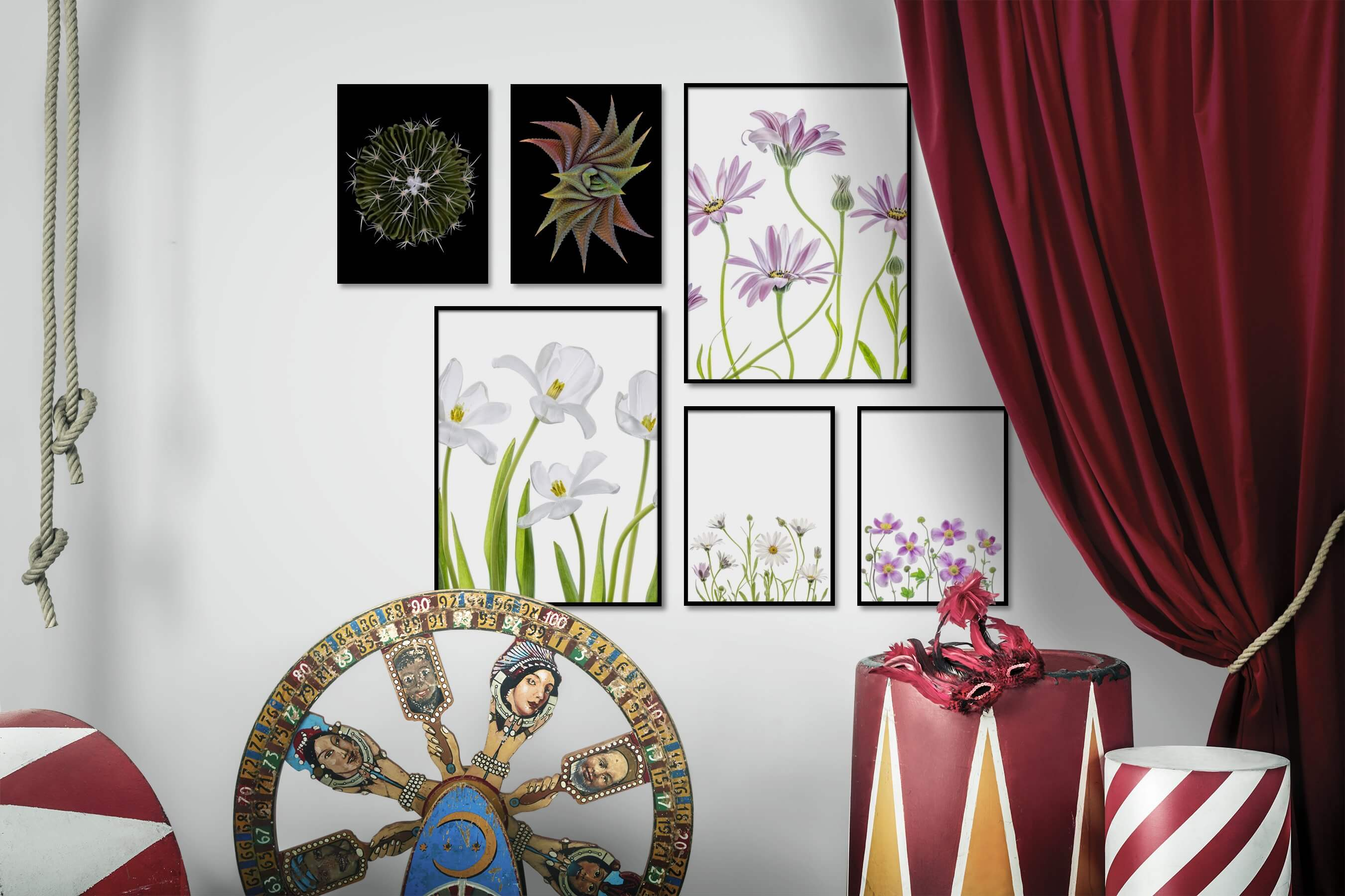 Gallery wall idea with six framed pictures arranged on a wall depicting Dark Tones, For the Minimalist, Flowers & Plants, Bright Tones, and For the Moderate