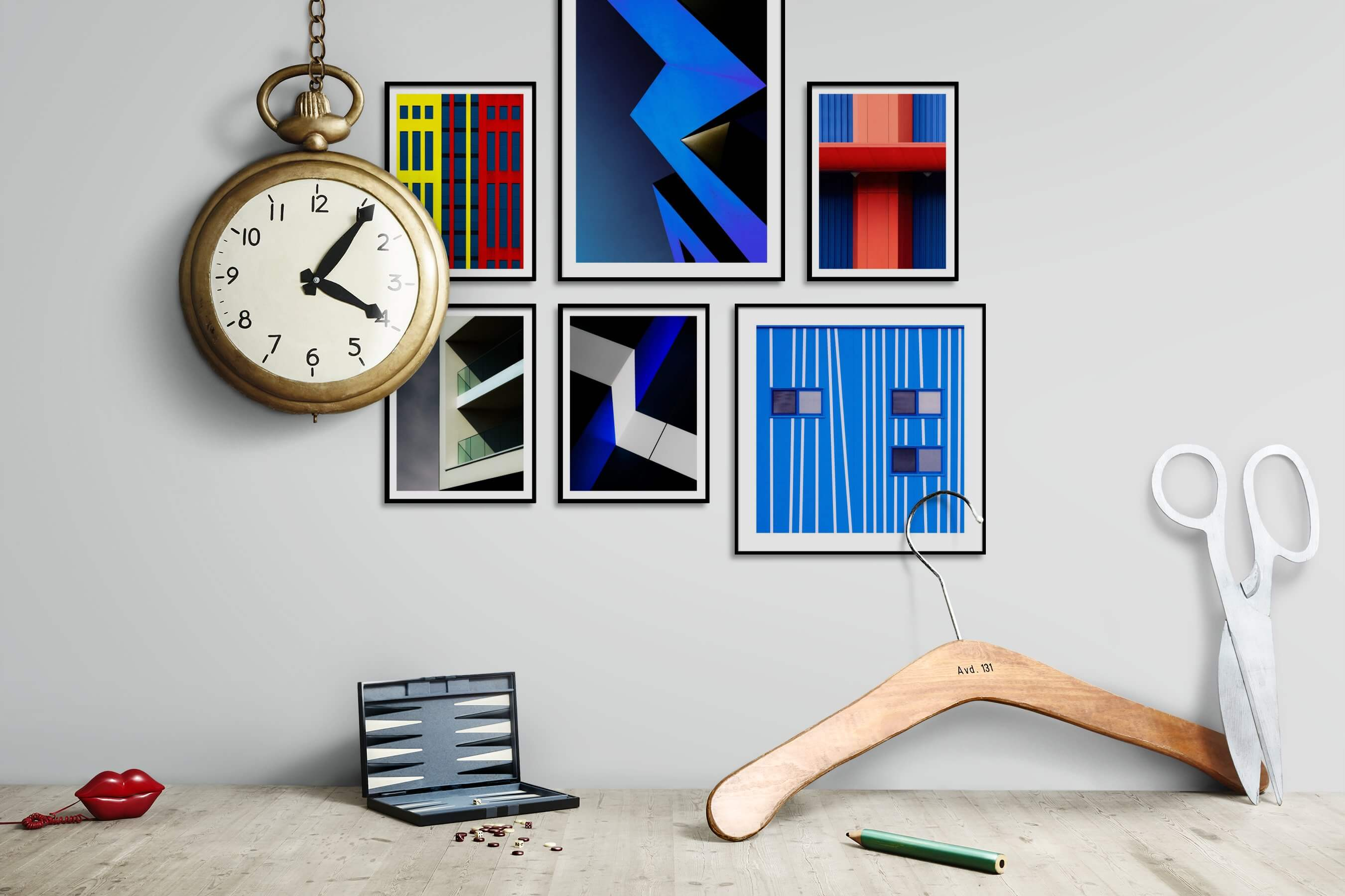 Gallery wall idea with six framed pictures arranged on a wall depicting Colorful, For the Maximalist, For the Moderate, City Life, and For the Minimalist