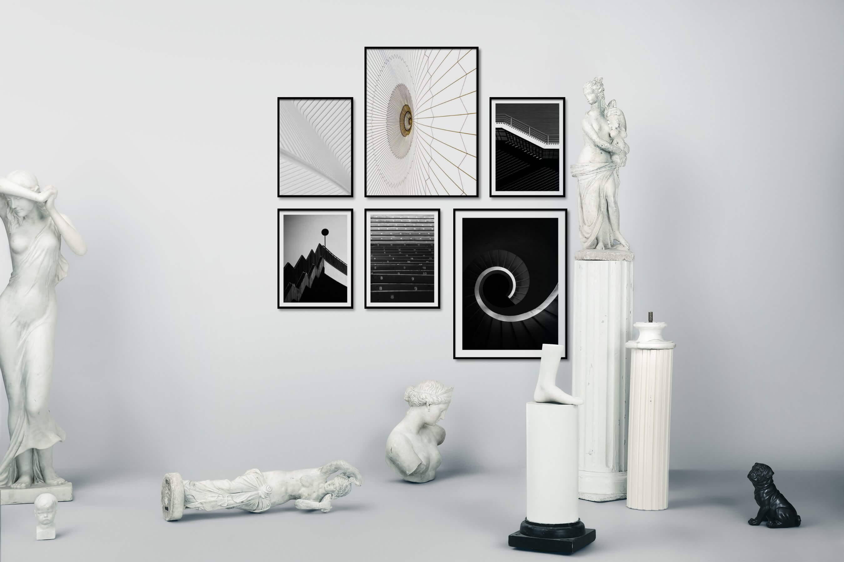 Gallery wall idea with six framed pictures arranged on a wall depicting Black & White, For the Moderate, For the Maximalist, and For the Minimalist