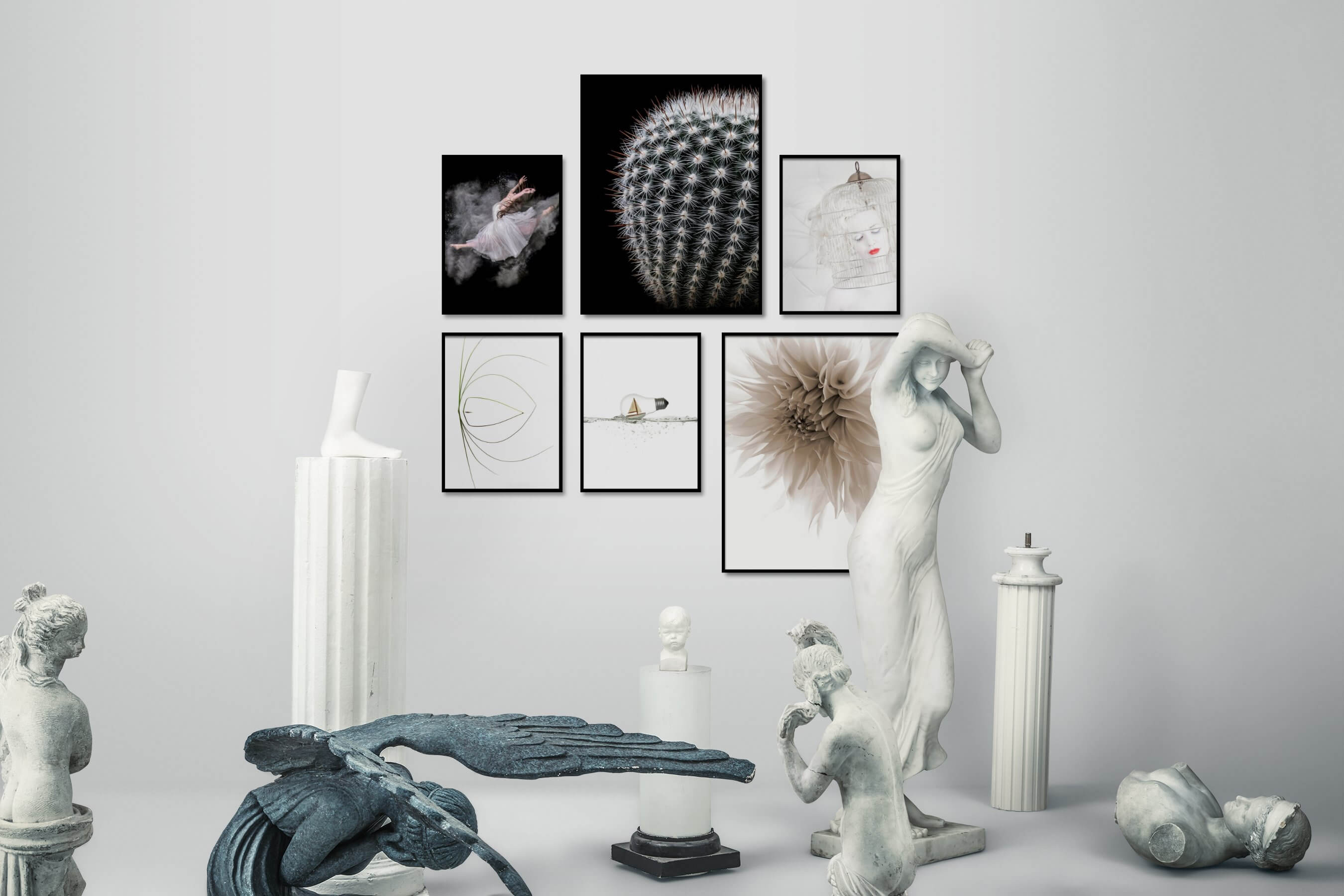 Gallery wall idea with six framed pictures arranged on a wall depicting Fashion & Beauty, Dark Tones, For the Minimalist, Flowers & Plants, Bright Tones, Mindfulness, Beach & Water, For the Moderate, and Artsy