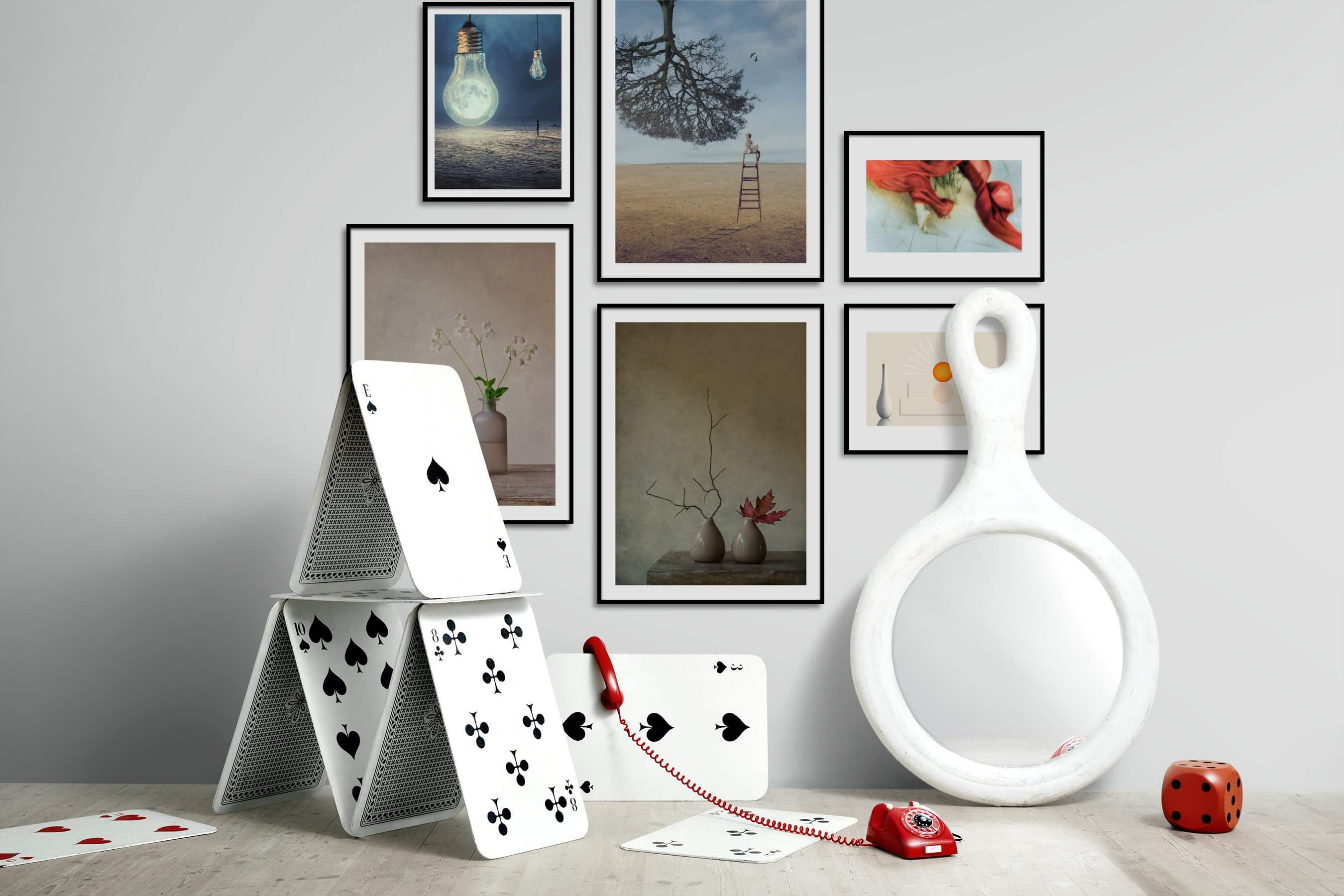 Gallery wall idea with six framed pictures arranged on a wall depicting Artsy, Nature, Animals, Flowers & Plants, Vintage, For the Minimalist, Fashion & Beauty, and For the Moderate