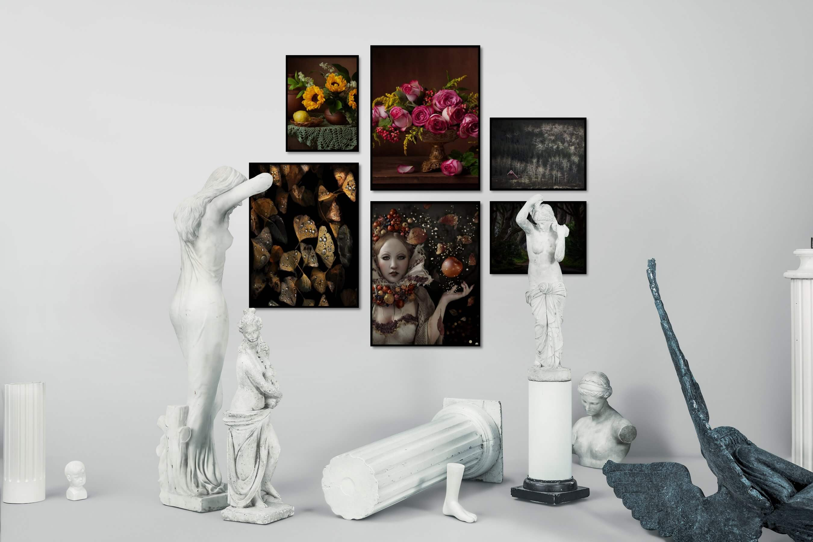 Gallery wall idea with six framed pictures arranged on a wall depicting Flowers & Plants, For the Moderate, Fashion & Beauty, Artsy, Vintage, and Nature