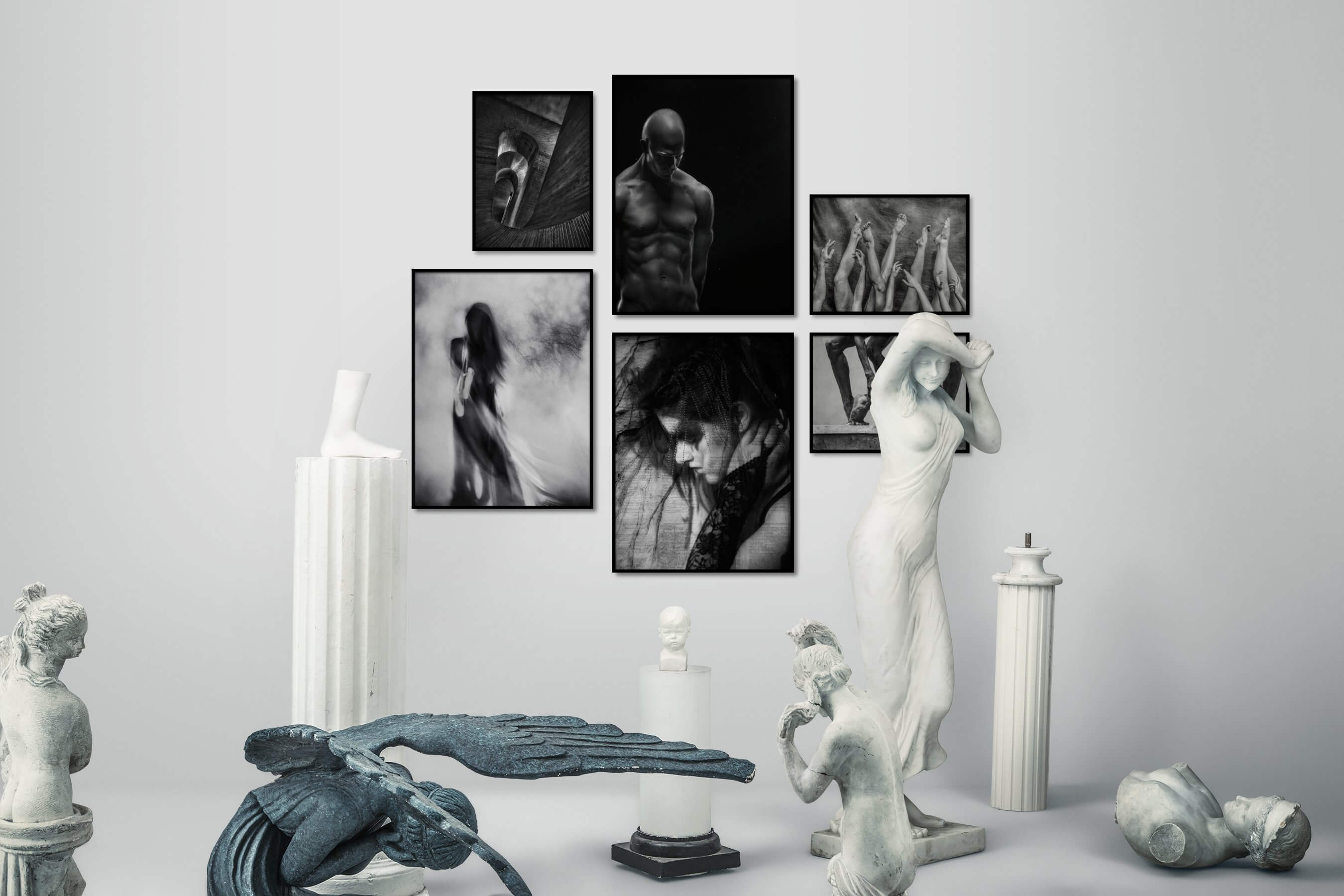 Gallery wall idea with six framed pictures arranged on a wall depicting Black & White, For the Moderate, Fashion & Beauty, Dark Tones, For the Minimalist, and Artsy