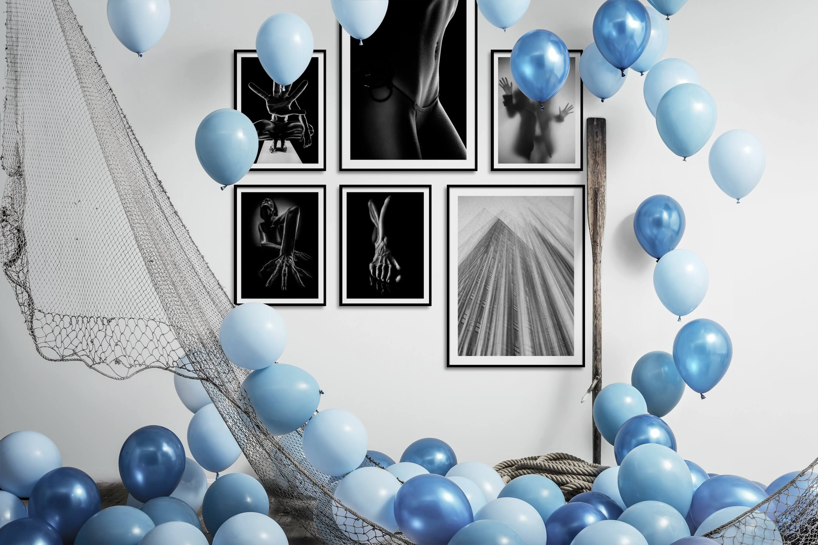 Gallery wall idea with six framed pictures arranged on a wall depicting Fashion & Beauty, Black & White, For the Minimalist, Artsy, For the Maximalist, and City Life