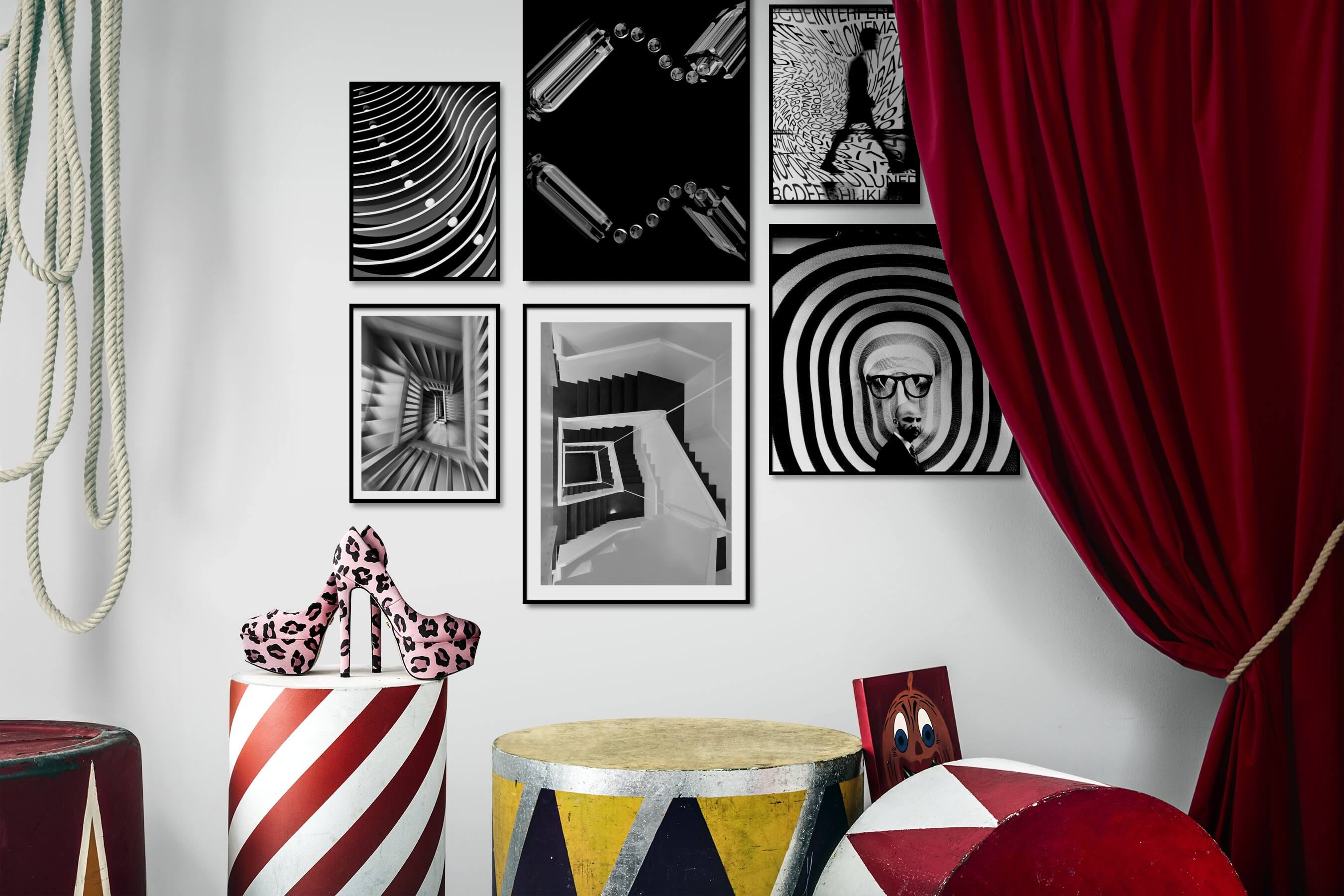 Gallery wall idea with six framed pictures arranged on a wall depicting Black & White, For the Maximalist, Dark Tones, For the Minimalist, For the Moderate, and Artsy