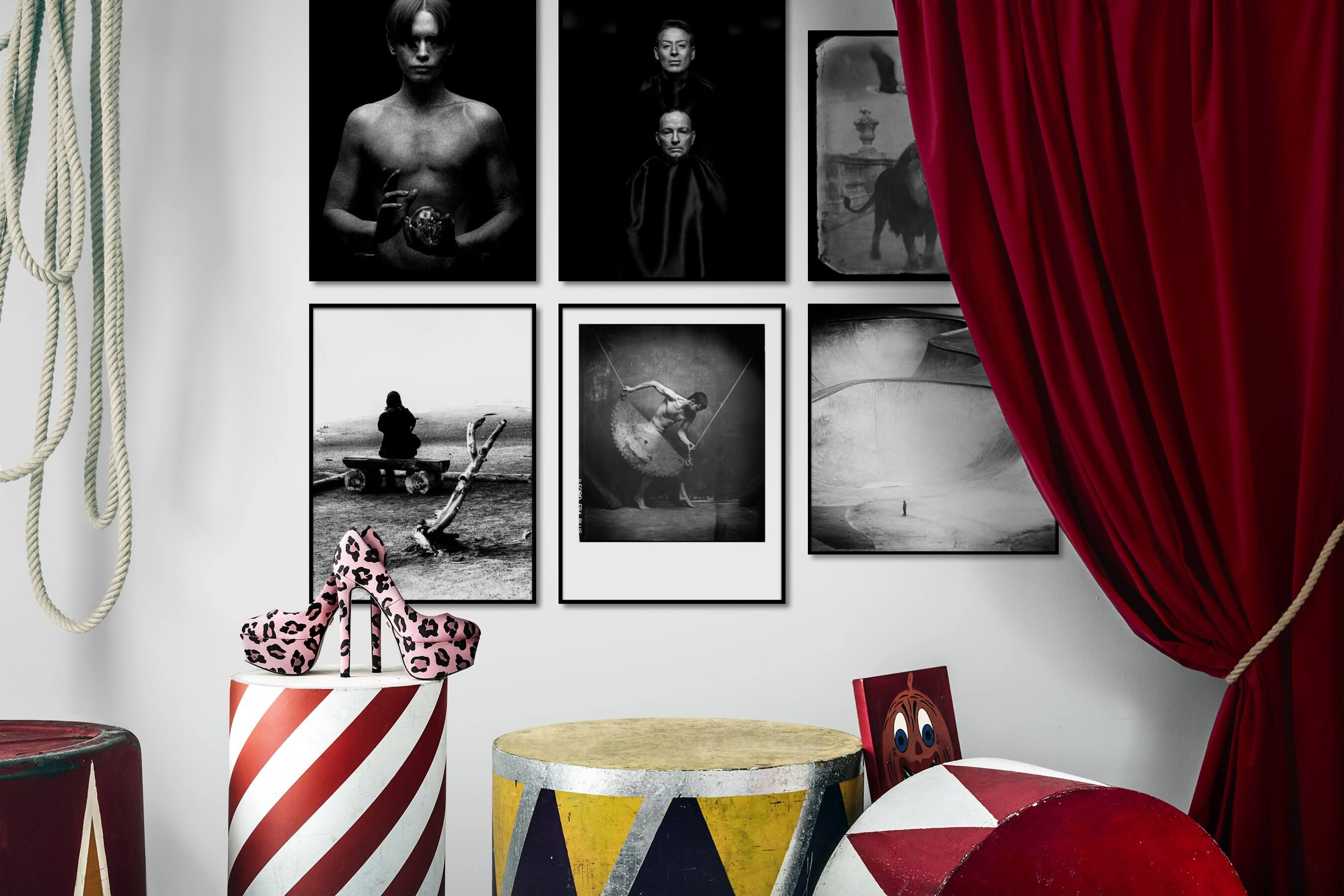 Gallery wall idea with six framed pictures arranged on a wall depicting Fashion & Beauty, Black & White, Dark Tones, For the Minimalist, Artsy, Animals, and For the Moderate
