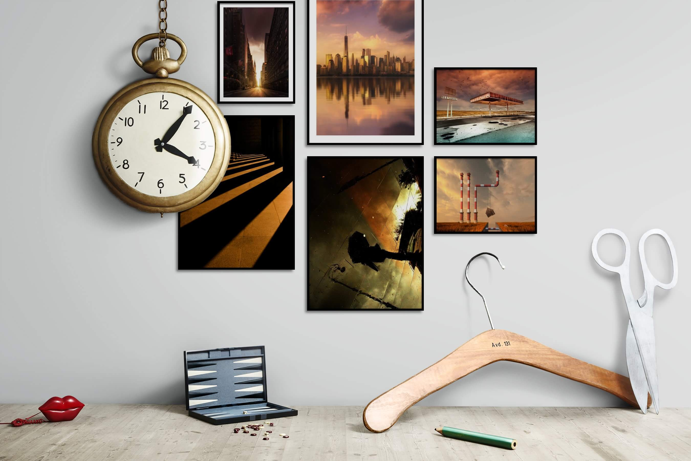 Gallery wall idea with six framed pictures arranged on a wall depicting City Life, Americana, Dark Tones, For the Moderate, Artsy, Country Life, and Vintage