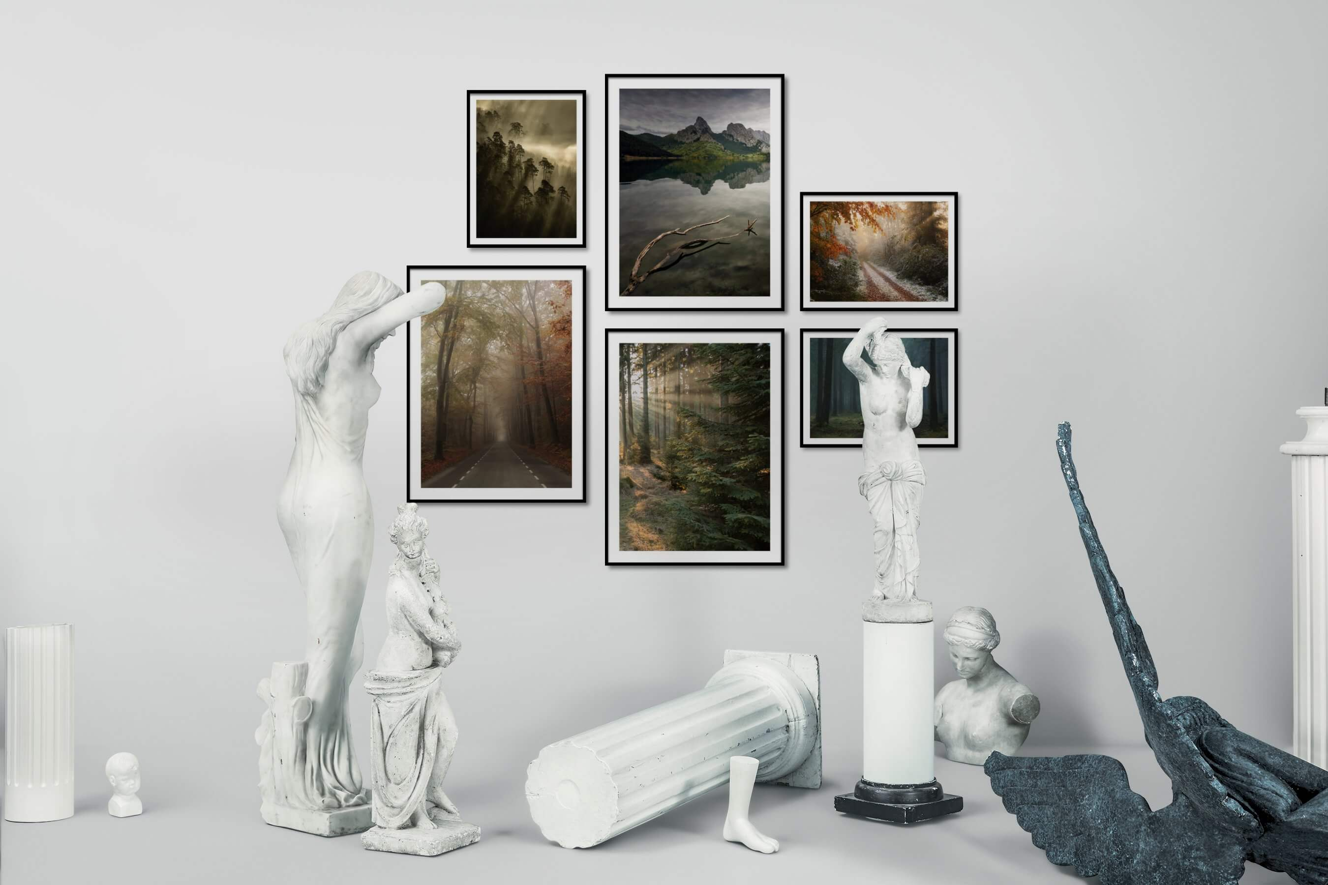 Gallery wall idea with six framed pictures arranged on a wall depicting Nature