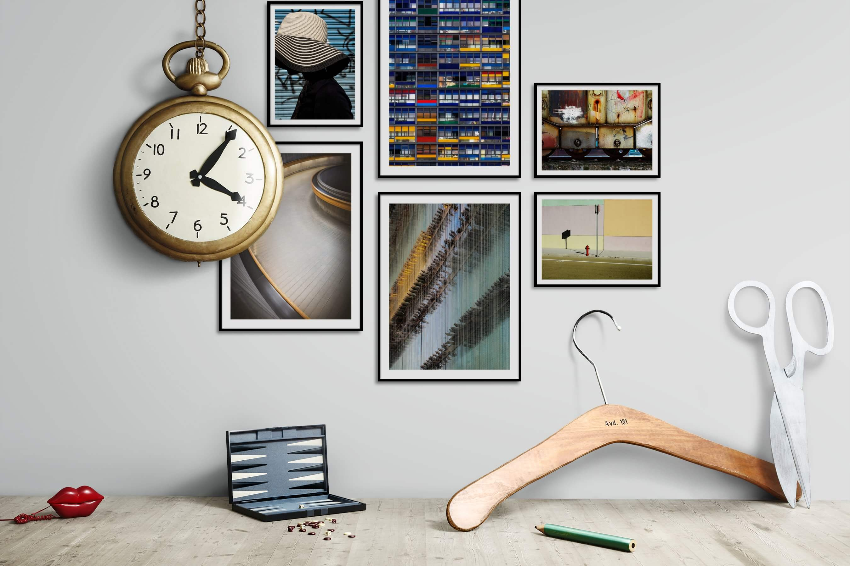 Gallery wall idea with six framed pictures arranged on a wall depicting Fashion & Beauty, For the Moderate, For the Maximalist, City Life, and Vintage