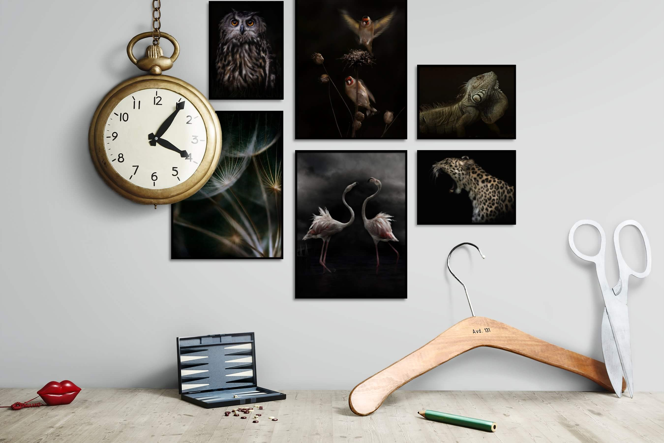 Gallery wall idea with six framed pictures arranged on a wall depicting Dark Tones, Animals, For the Moderate, Flowers & Plants, and For the Minimalist