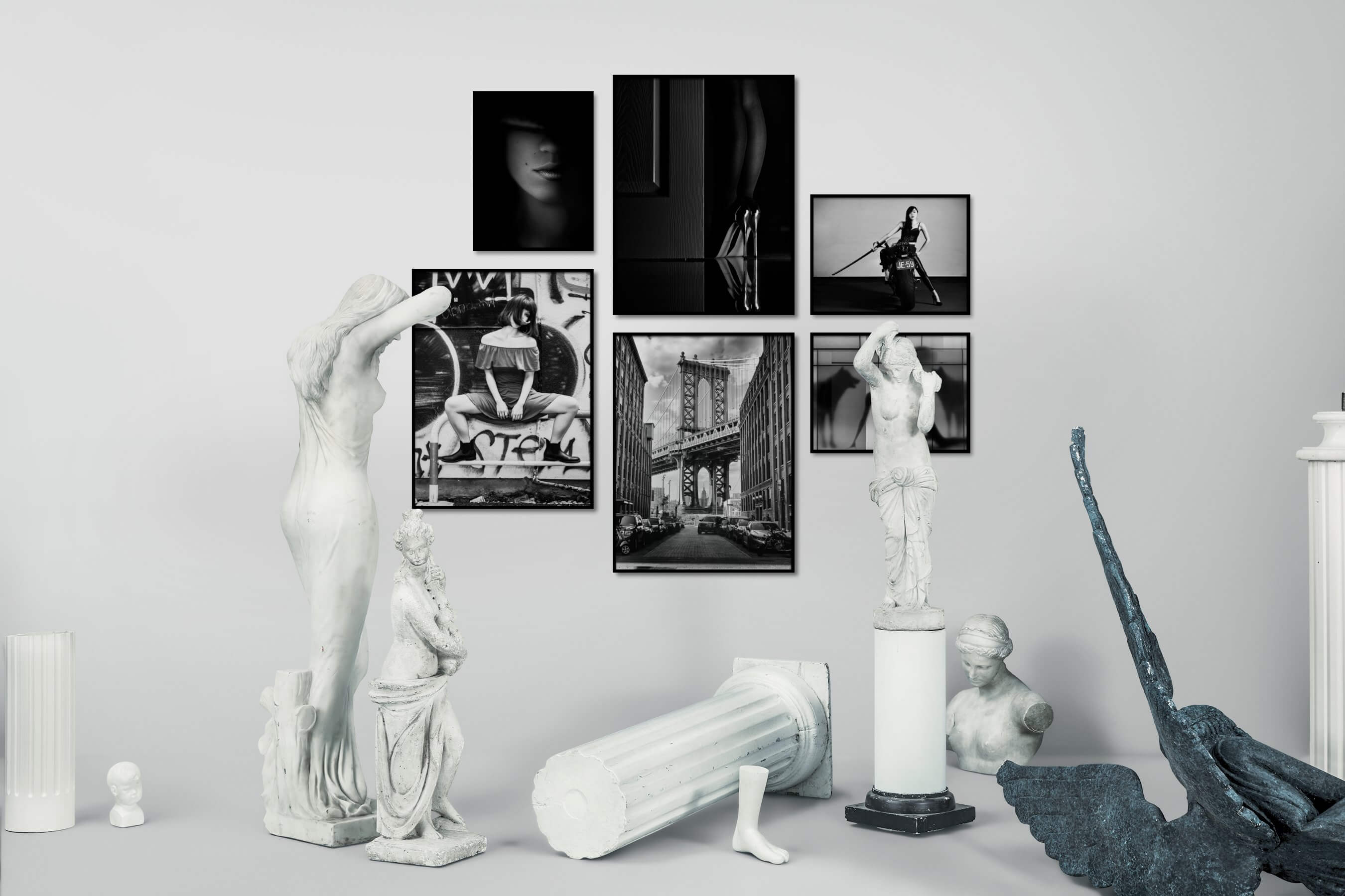 Gallery wall idea with six framed pictures arranged on a wall depicting Fashion & Beauty, Black & White, Dark Tones, For the Minimalist, For the Moderate, City Life, Americana, Artsy, and For the Maximalist