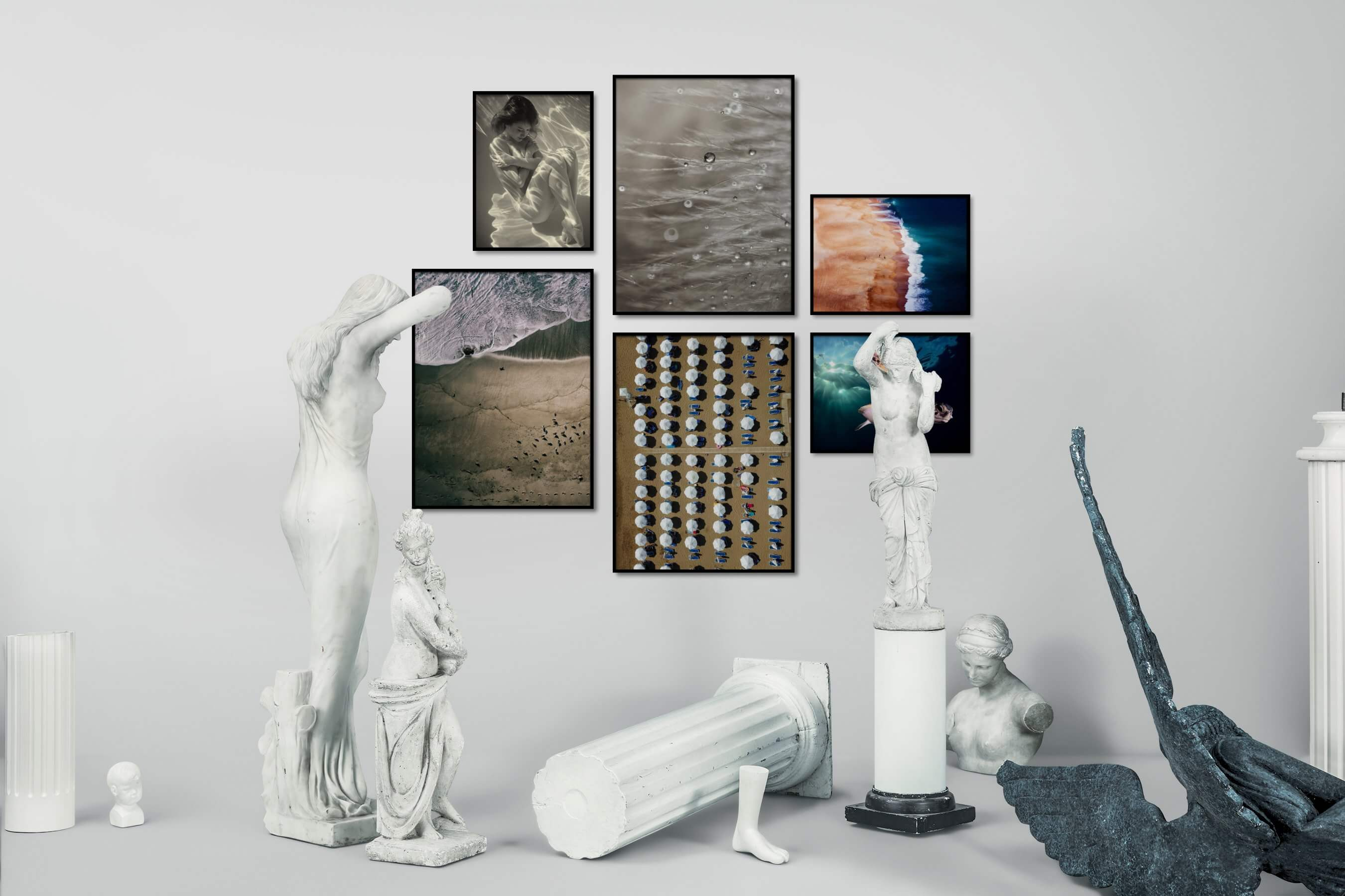 Gallery wall idea with six framed pictures arranged on a wall depicting Fashion & Beauty, Beach & Water, For the Moderate, Flowers & Plants, For the Maximalist, and Animals