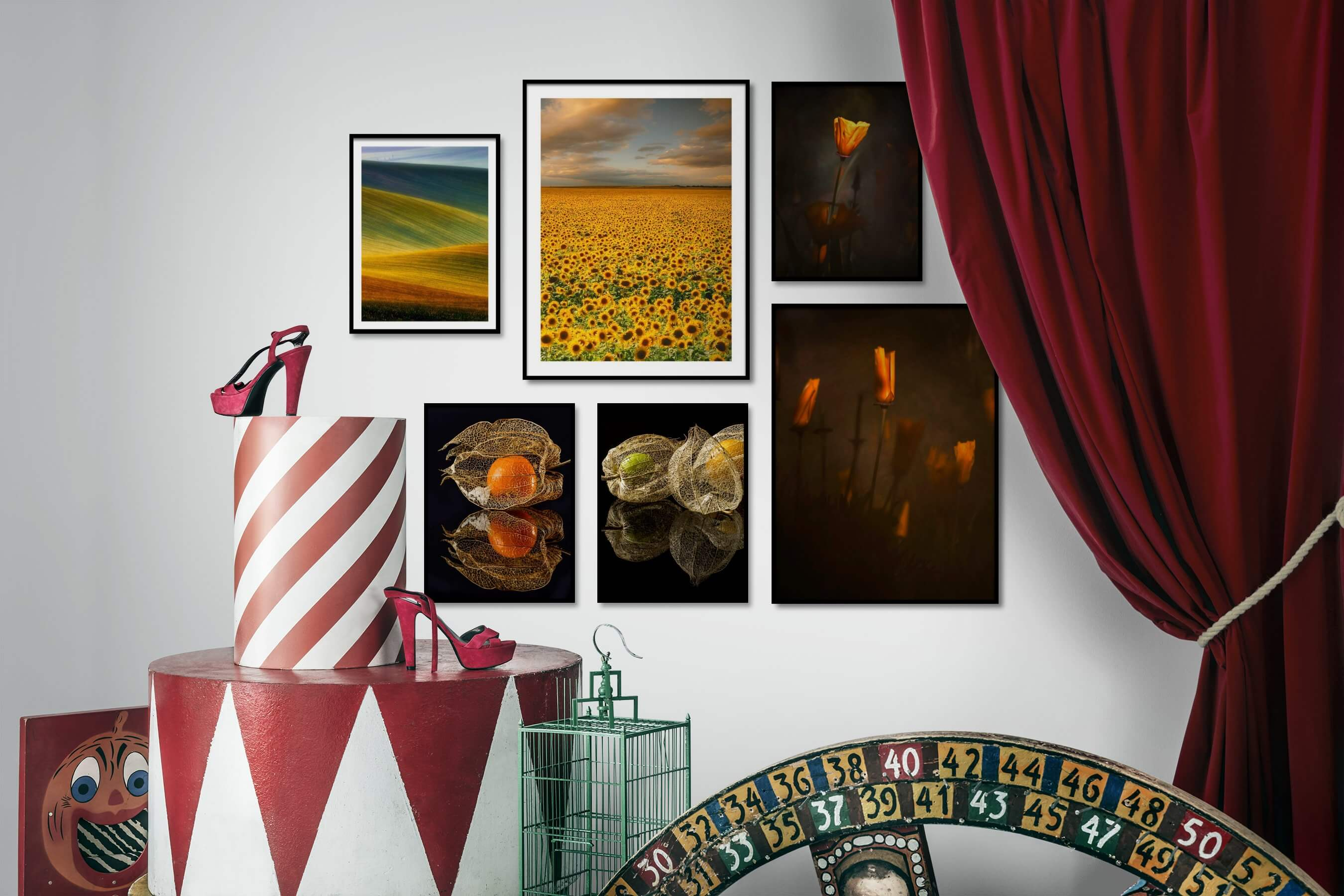 Gallery wall idea with six framed pictures arranged on a wall depicting For the Minimalist, Country Life, For the Moderate, Dark Tones, and Flowers & Plants