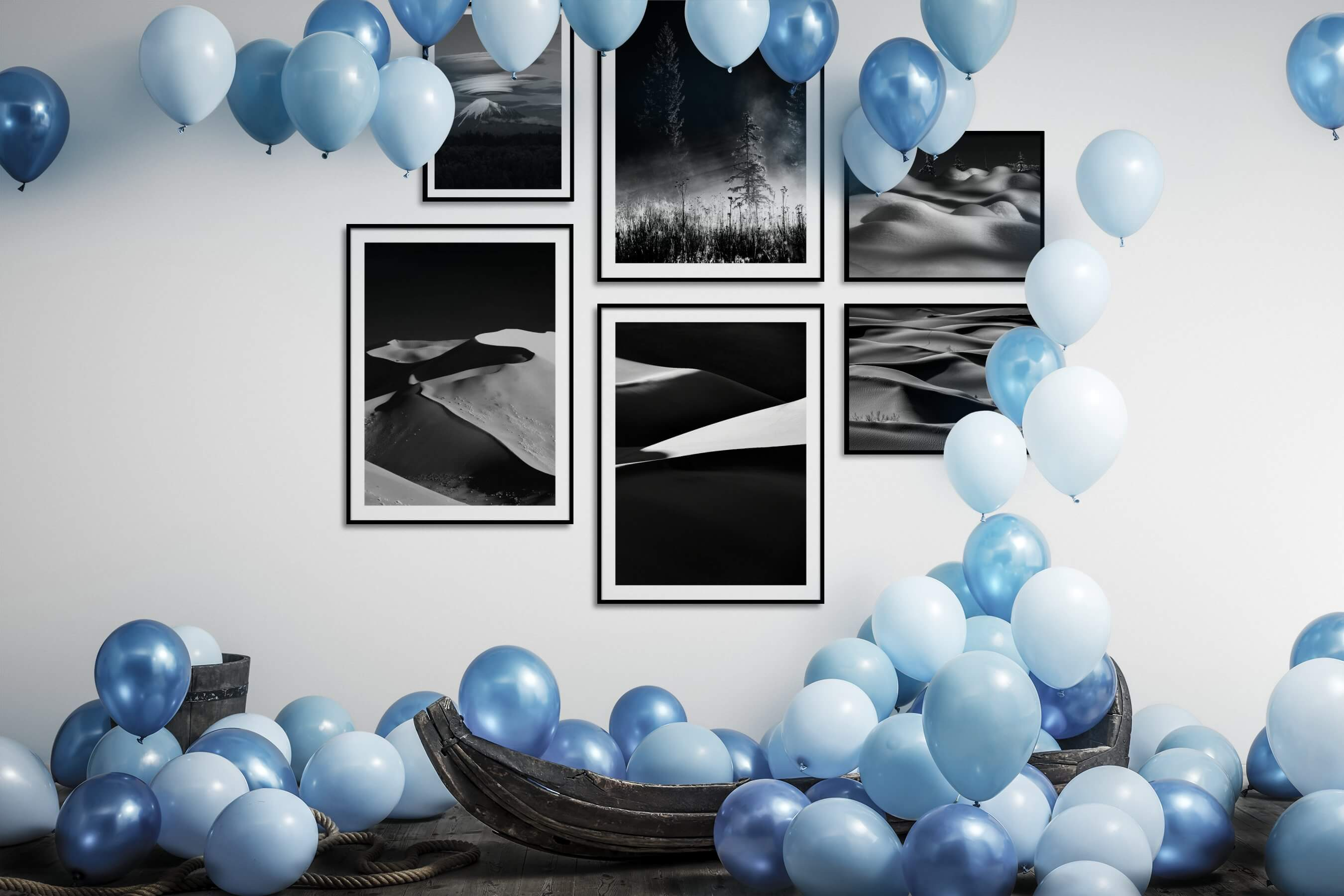 Gallery wall idea with six framed pictures arranged on a wall depicting Black & White, Nature, For the Minimalist, and For the Moderate