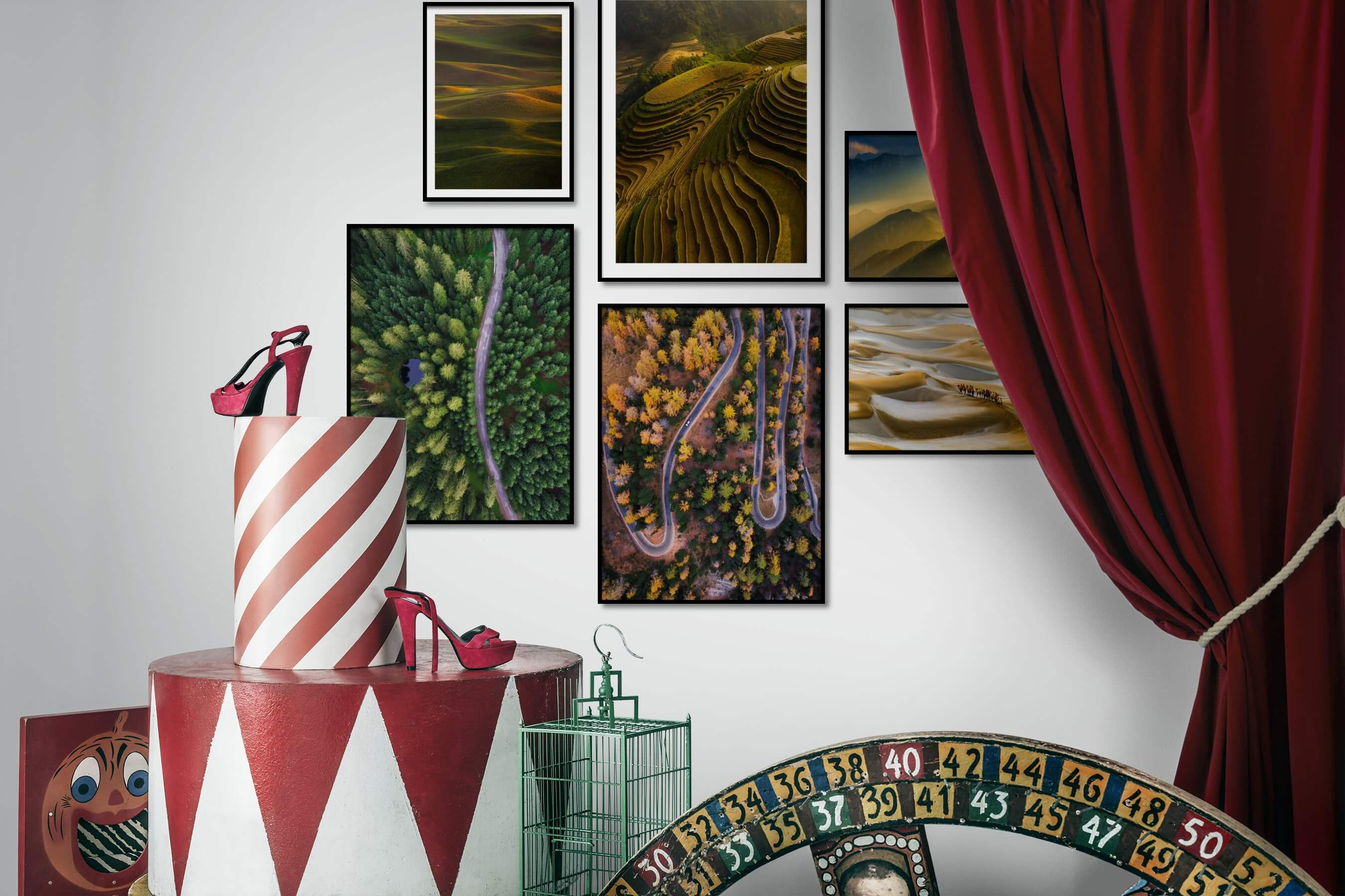 Gallery wall idea with six framed pictures arranged on a wall depicting For the Moderate, Country Life, Nature, and Animals