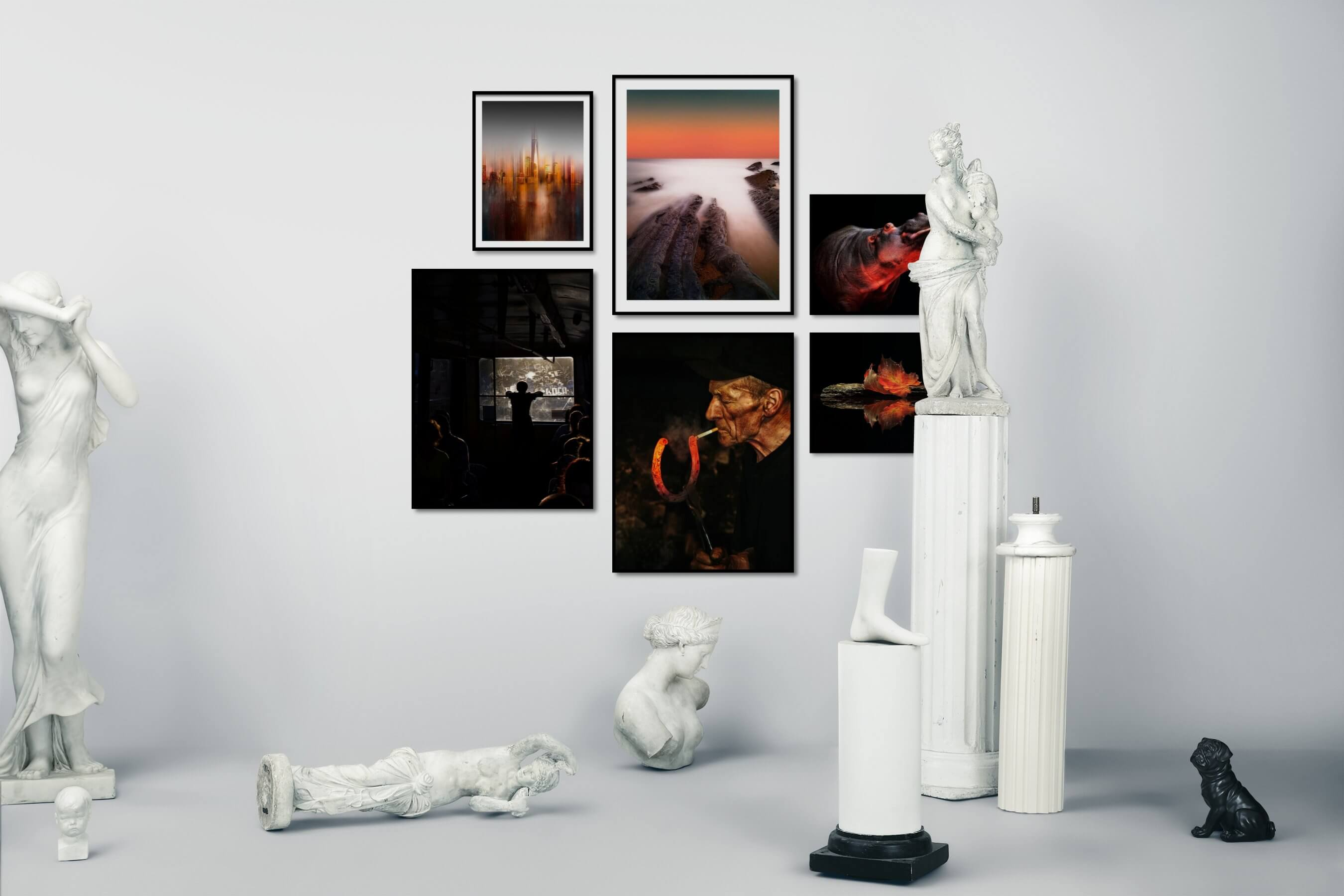 Gallery wall idea with six framed pictures arranged on a wall depicting For the Moderate, City Life, Americana, Beach & Water, Mindfulness, Dark Tones, Country Life, Animals, For the Minimalist, and Nature