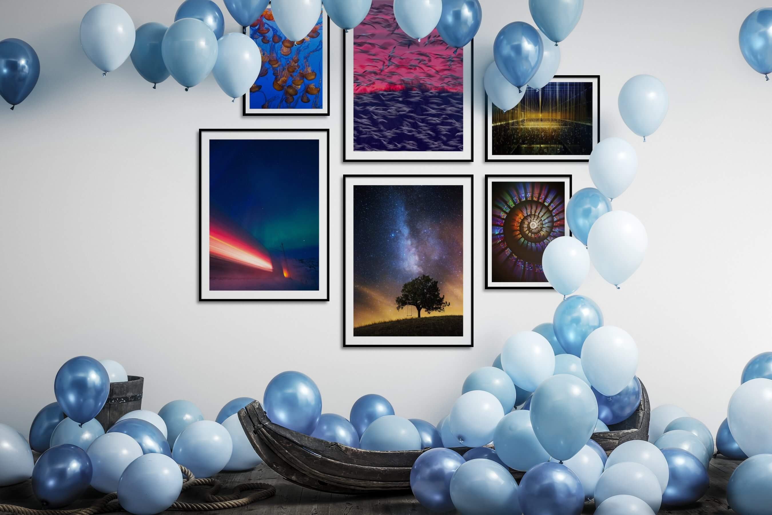 Gallery wall idea with six framed pictures arranged on a wall depicting Animals, Beach & Water, For the Maximalist, For the Minimalist, Country Life, and Colorful