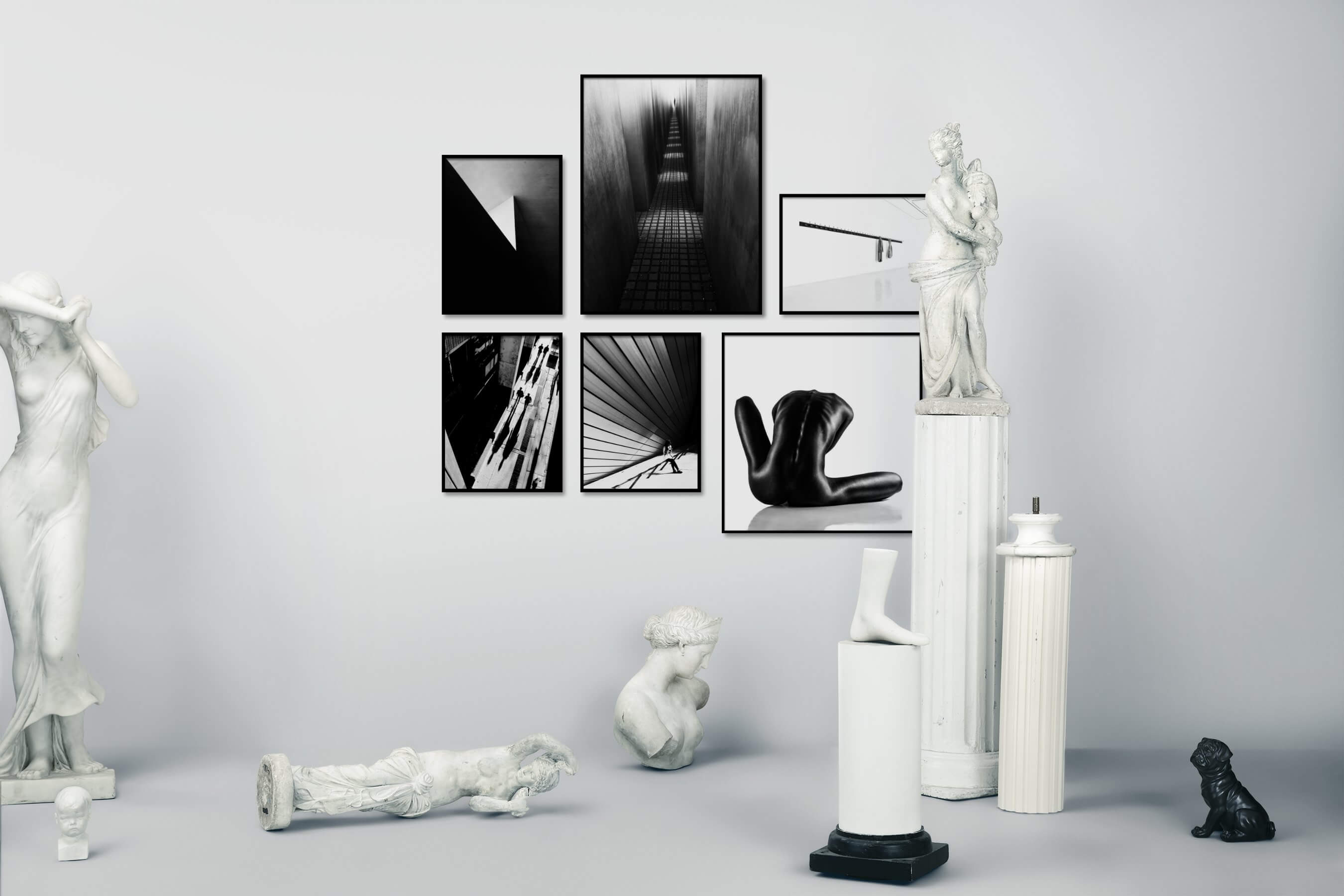 Gallery wall idea with six framed pictures arranged on a wall depicting Black & White, For the Minimalist, For the Moderate, City Life, Fashion & Beauty, Bright Tones, and Artsy