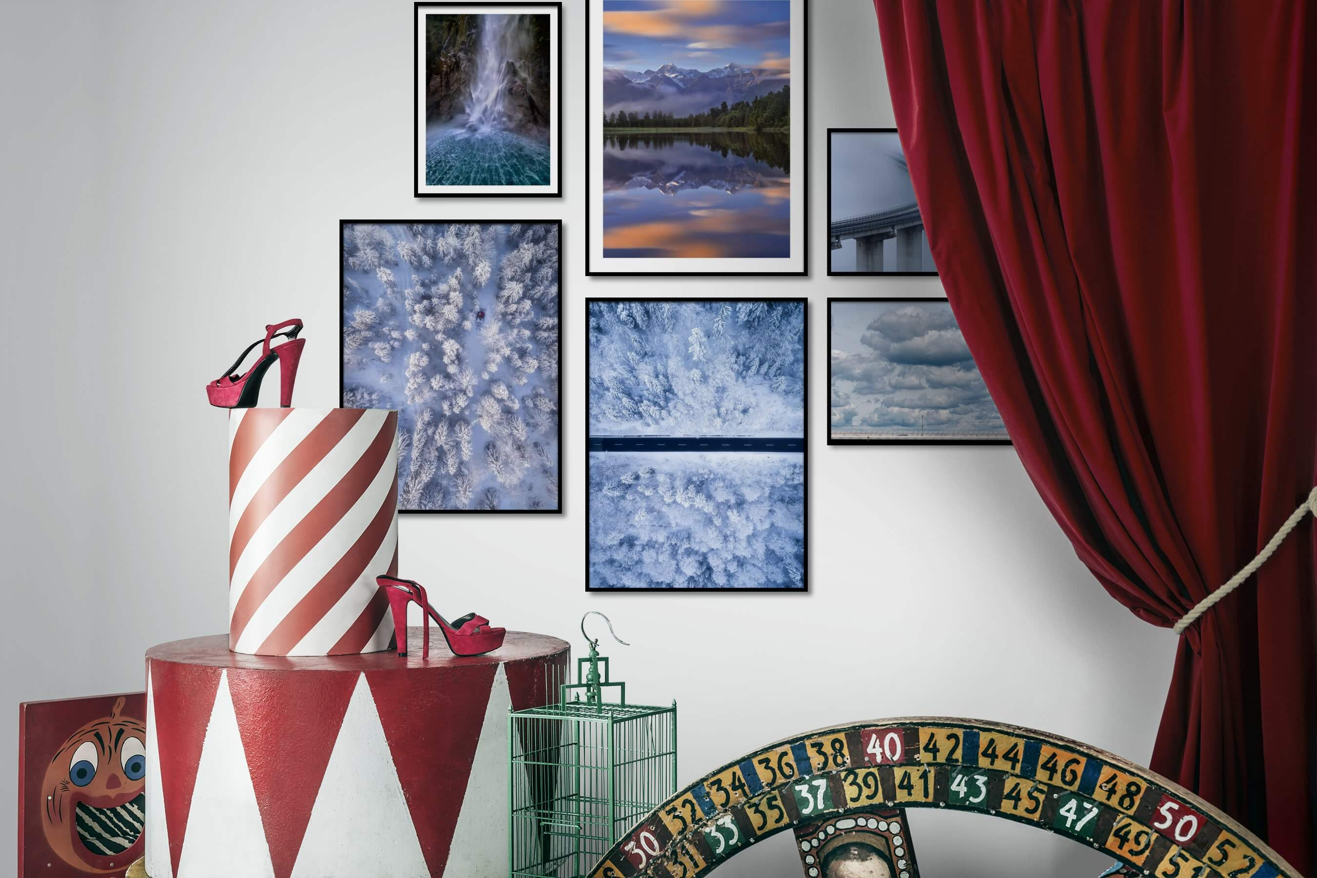 Gallery wall idea with six framed pictures arranged on a wall depicting Nature, For the Moderate, and For the Minimalist