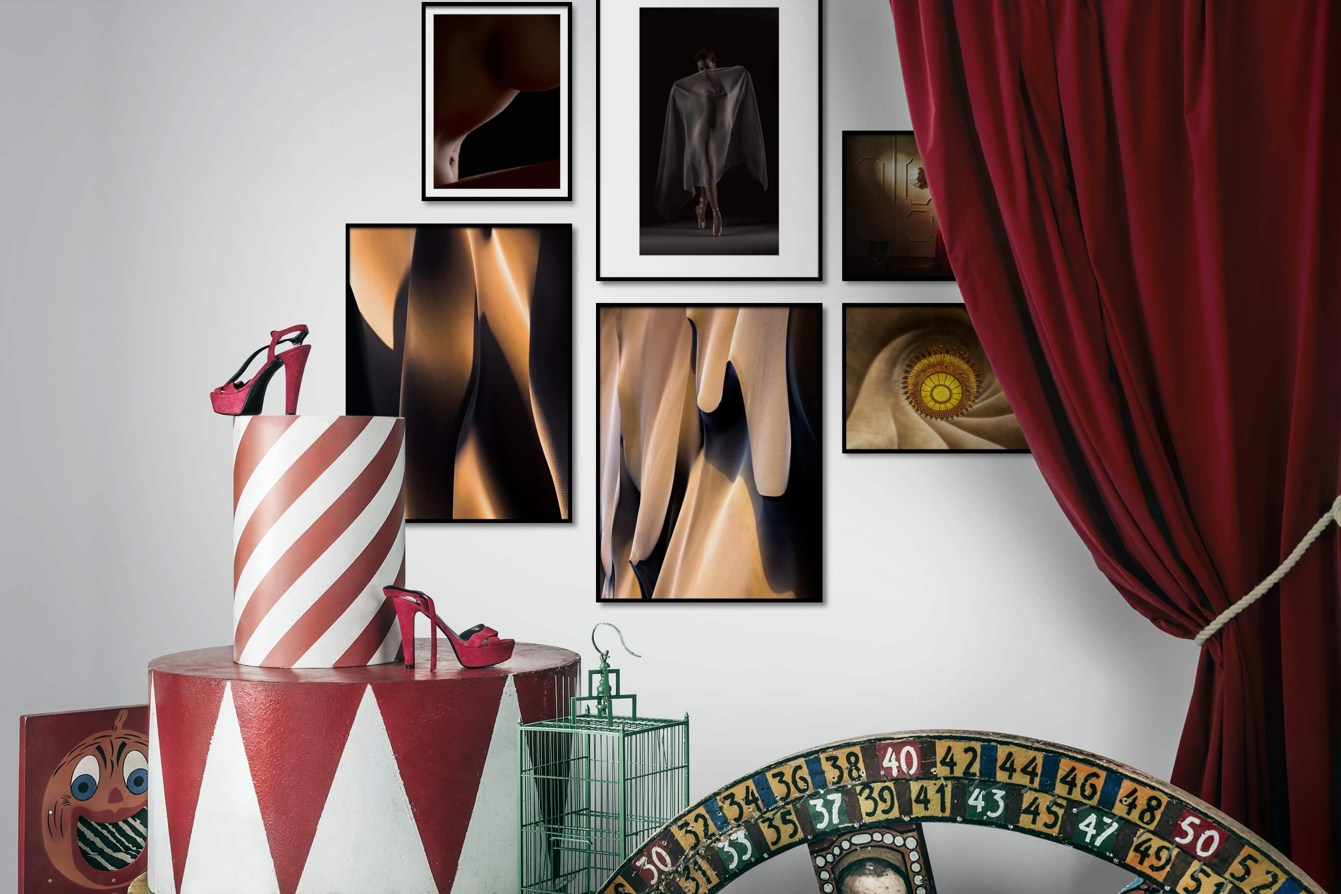 Gallery wall idea with six framed pictures arranged on a wall depicting Fashion & Beauty, For the Minimalist, Bold, For the Moderate, Nature, and Vintage