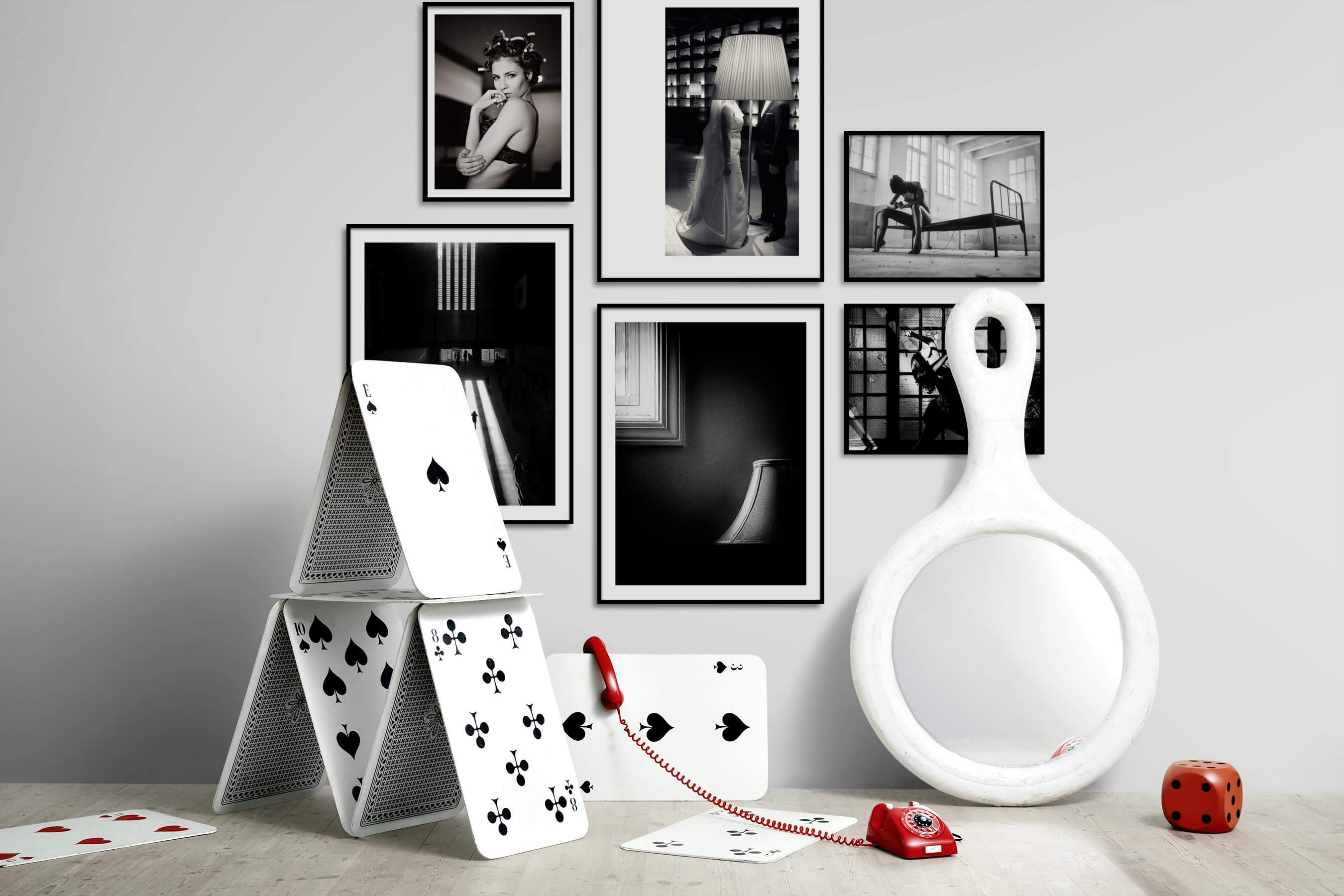 Gallery wall idea with six framed pictures arranged on a wall depicting Fashion & Beauty, Black & White, Vintage, Artsy, For the Moderate, City Life, and For the Minimalist