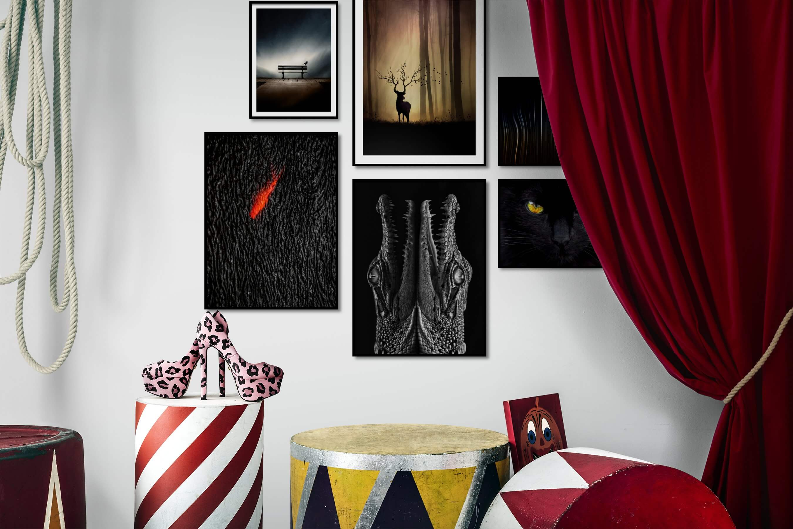 Gallery wall idea with six framed pictures arranged on a wall depicting For the Minimalist, Nature, Animals, Dark Tones, Beach & Water, and Black & White