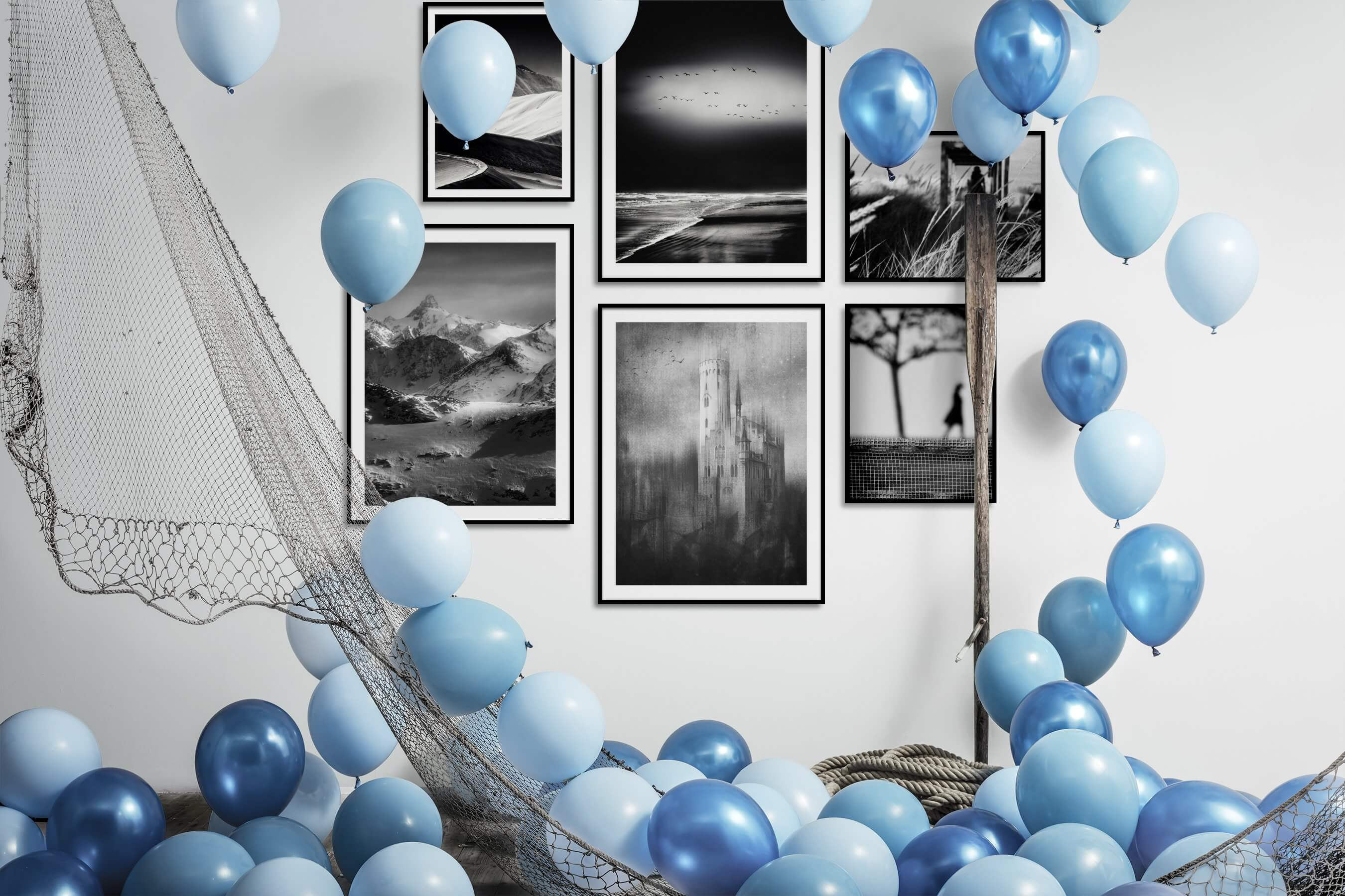 Gallery wall idea with six framed pictures arranged on a wall depicting Black & White, For the Moderate, Nature, Beach & Water, Vintage, Country Life, and Artsy