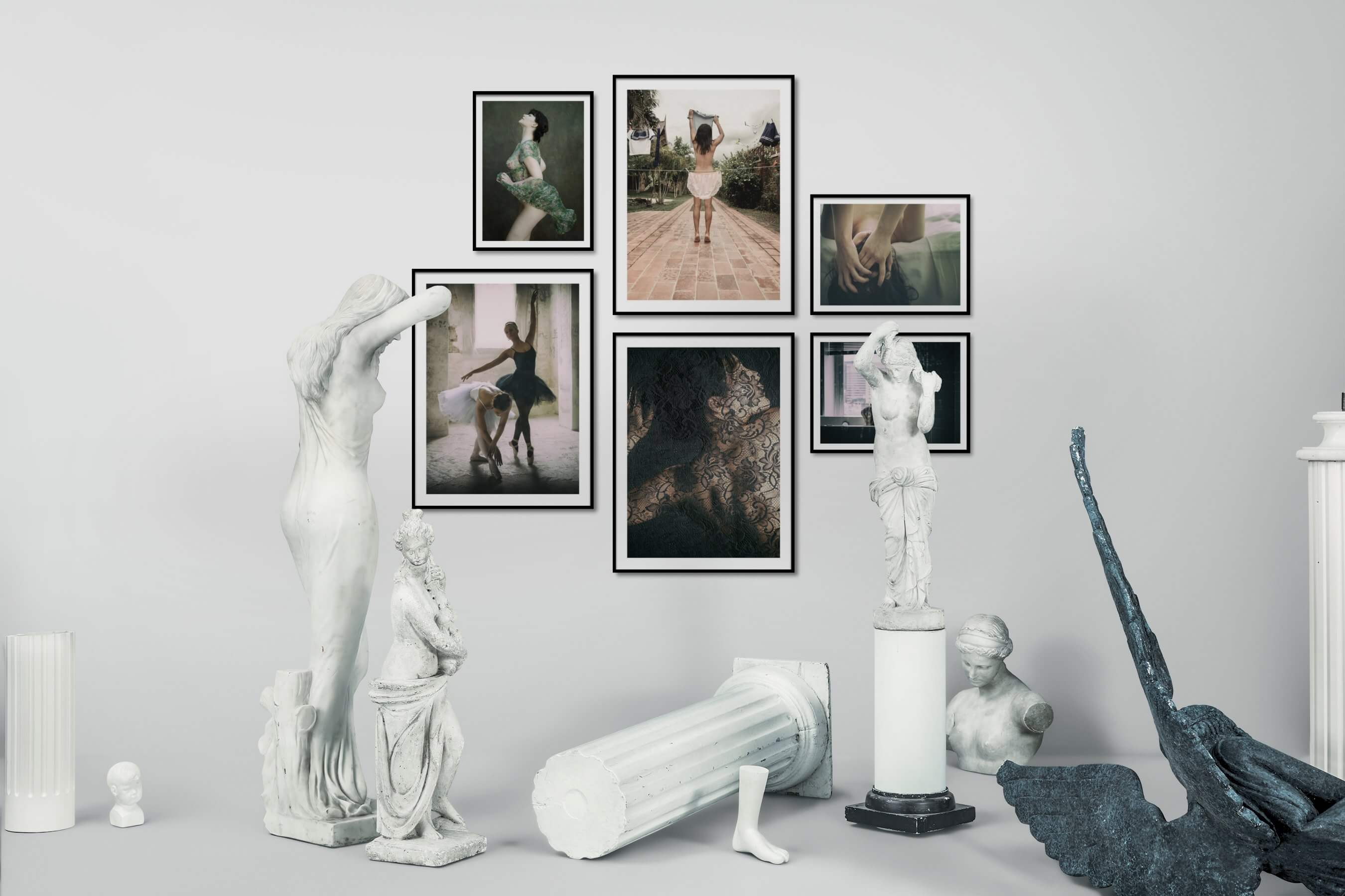 Gallery wall idea with six framed pictures arranged on a wall depicting Fashion & Beauty, Artsy, and City Life