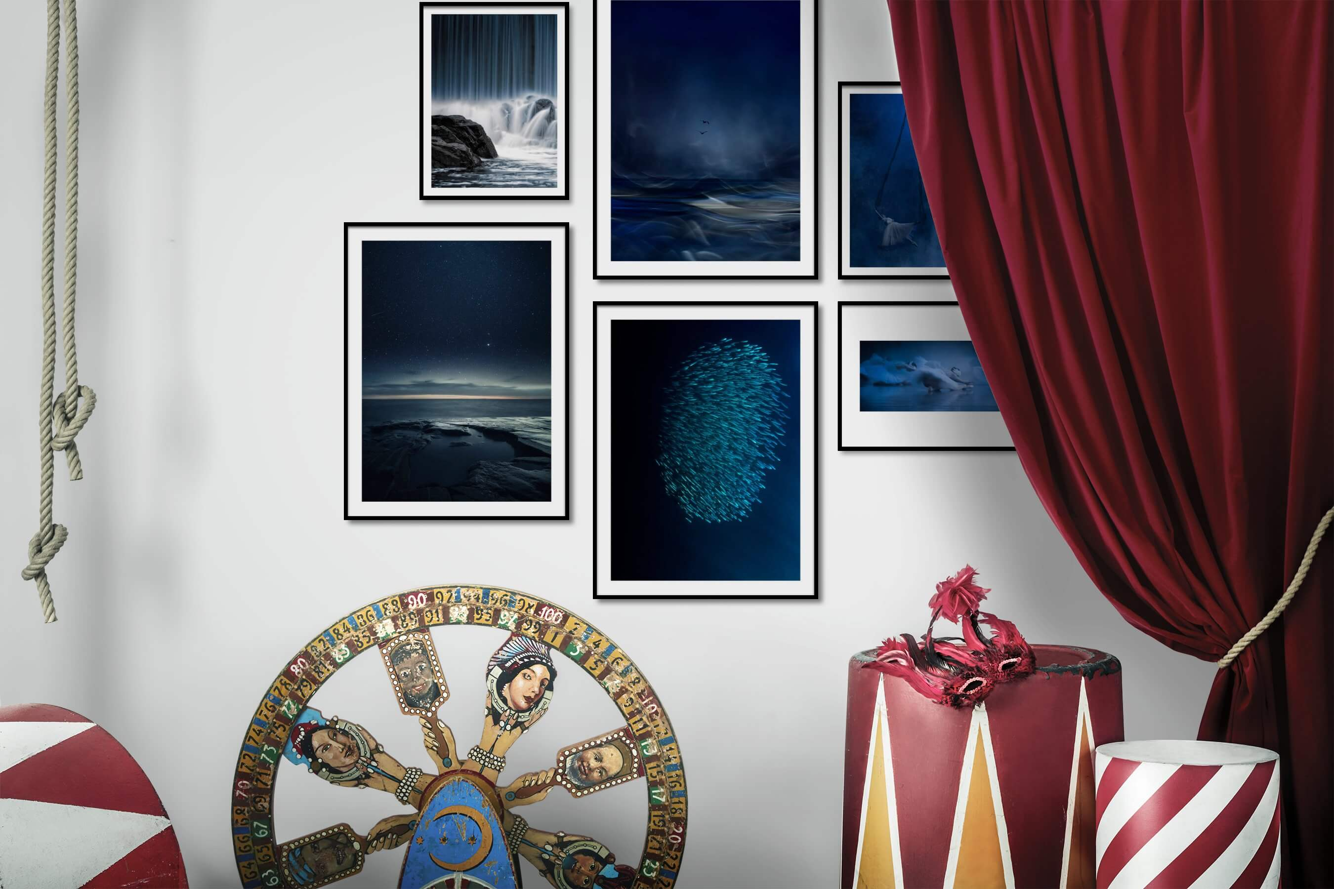 Gallery wall idea with six framed pictures arranged on a wall depicting Nature, Beach & Water, Mindfulness, For the Moderate, For the Minimalist, Animals, and Fashion & Beauty