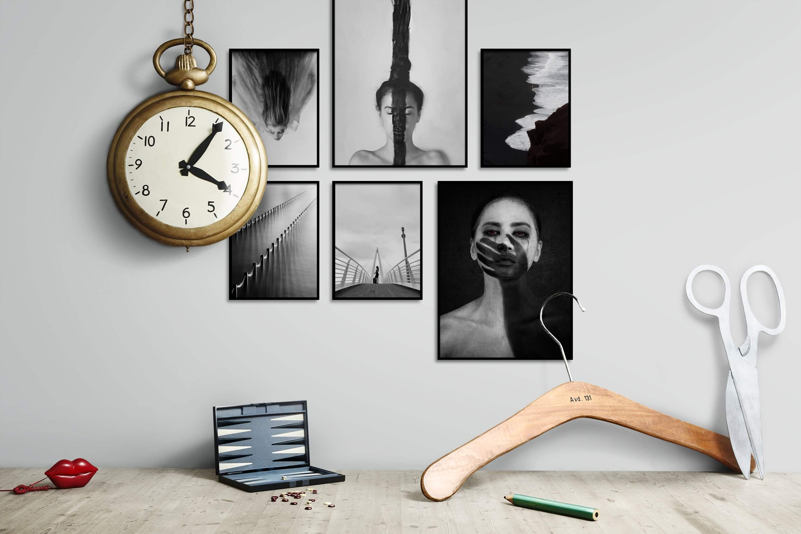 Gallery wall idea with six framed pictures arranged on a wall depicting Fashion & Beauty, Black & White, For the Moderate, Artsy, For the Minimalist, Dark Tones, and Beach & Water
