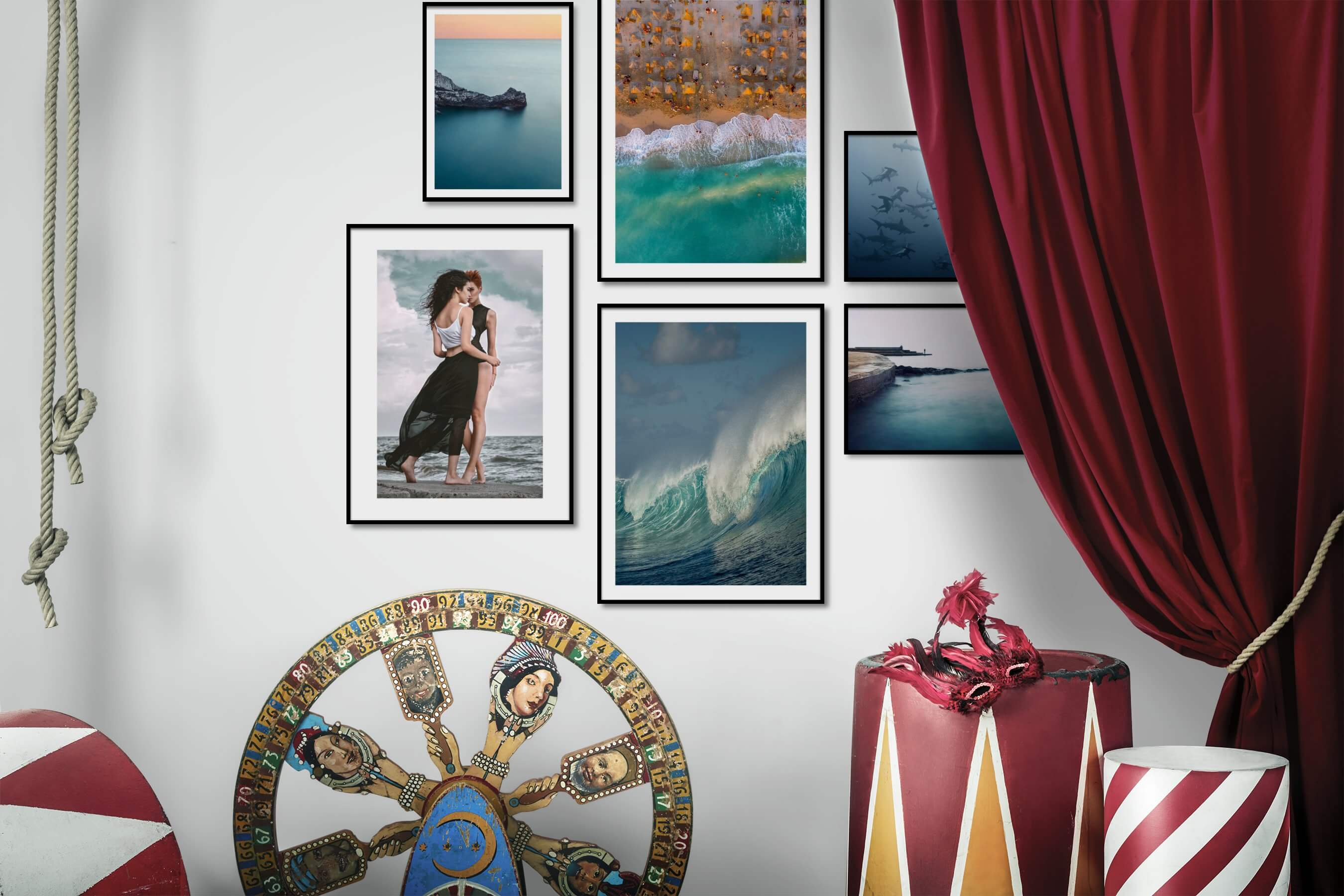 Gallery wall idea with six framed pictures arranged on a wall depicting For the Minimalist, Beach & Water, For the Moderate, Fashion & Beauty, Animals, and Mindfulness
