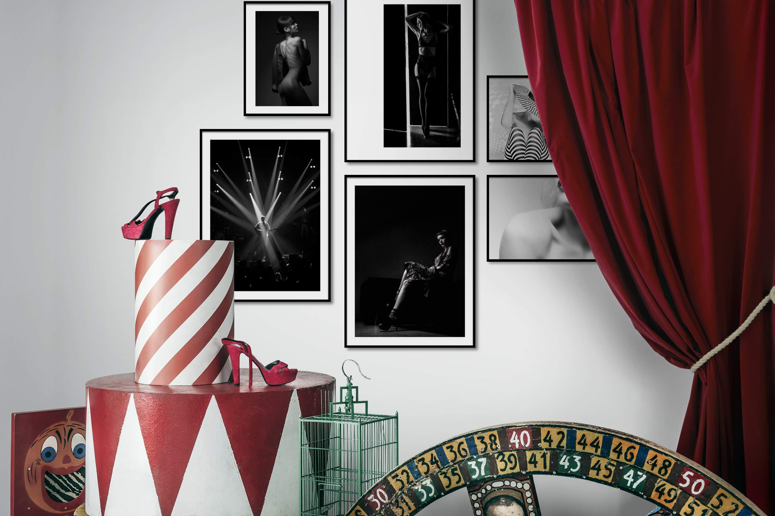 Gallery wall idea with six framed pictures arranged on a wall depicting Fashion & Beauty, Black & White, For the Moderate, and For the Minimalist
