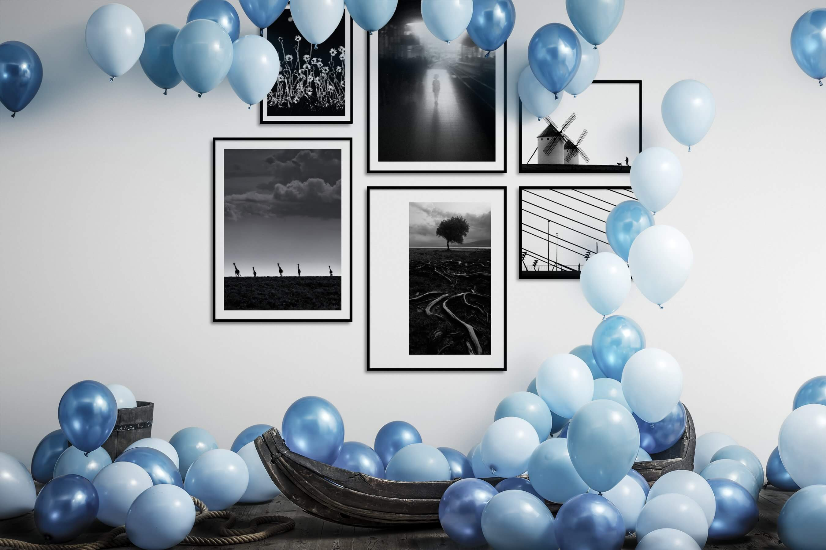 Gallery wall idea with six framed pictures arranged on a wall depicting Black & White, Flowers & Plants, City Life, Animals, Nature, Bright Tones, For the Minimalist, and Country Life