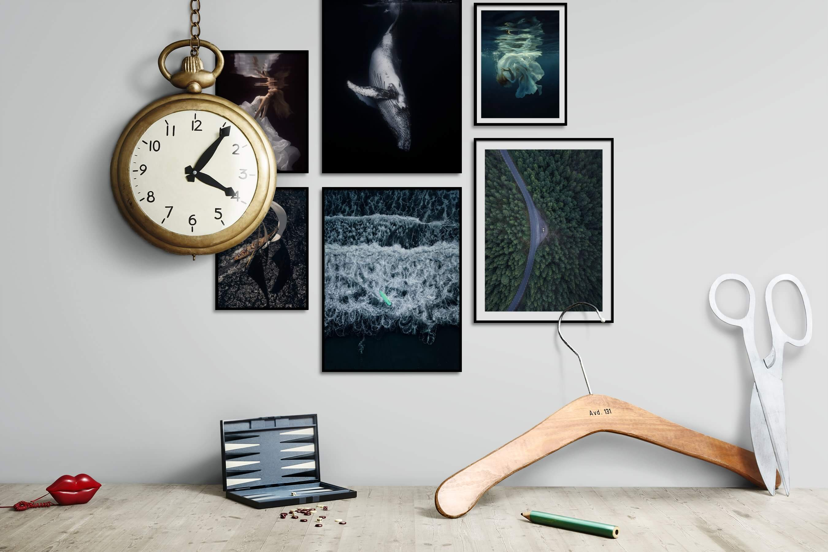Gallery wall idea with six framed pictures arranged on a wall depicting Fashion & Beauty, Beach & Water, Black & White, Dark Tones, Animals, For the Moderate, and Nature